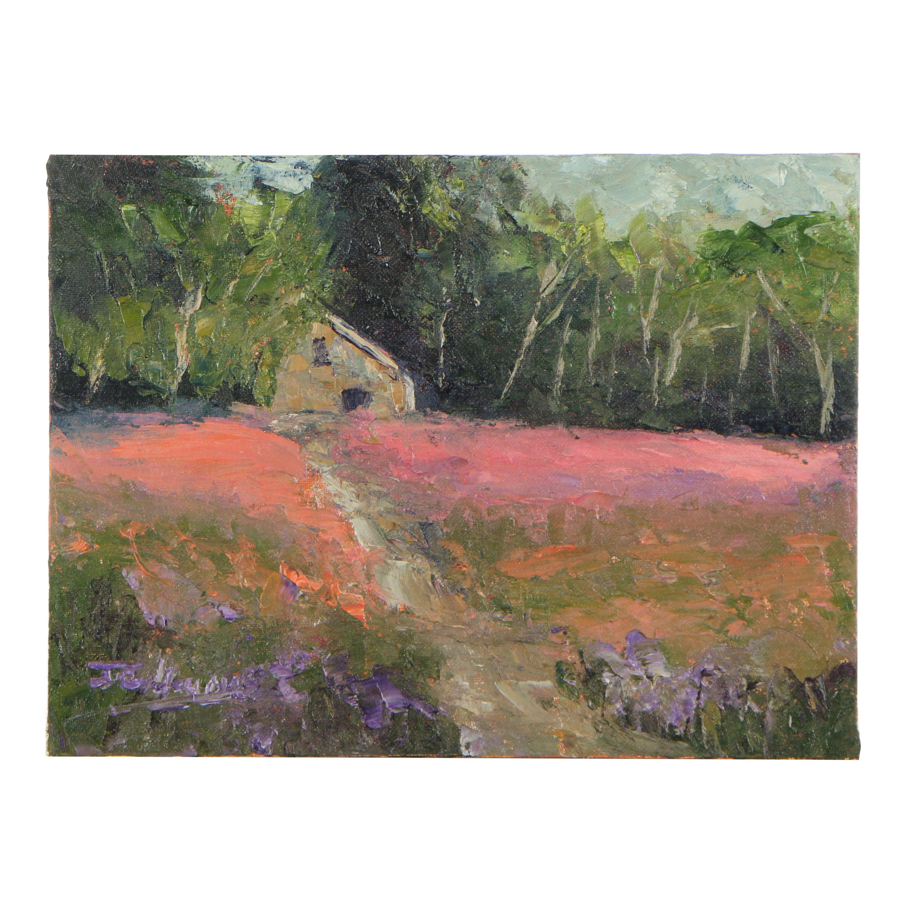 "James Baldoumas Oil Painting ""Field & Barn"""