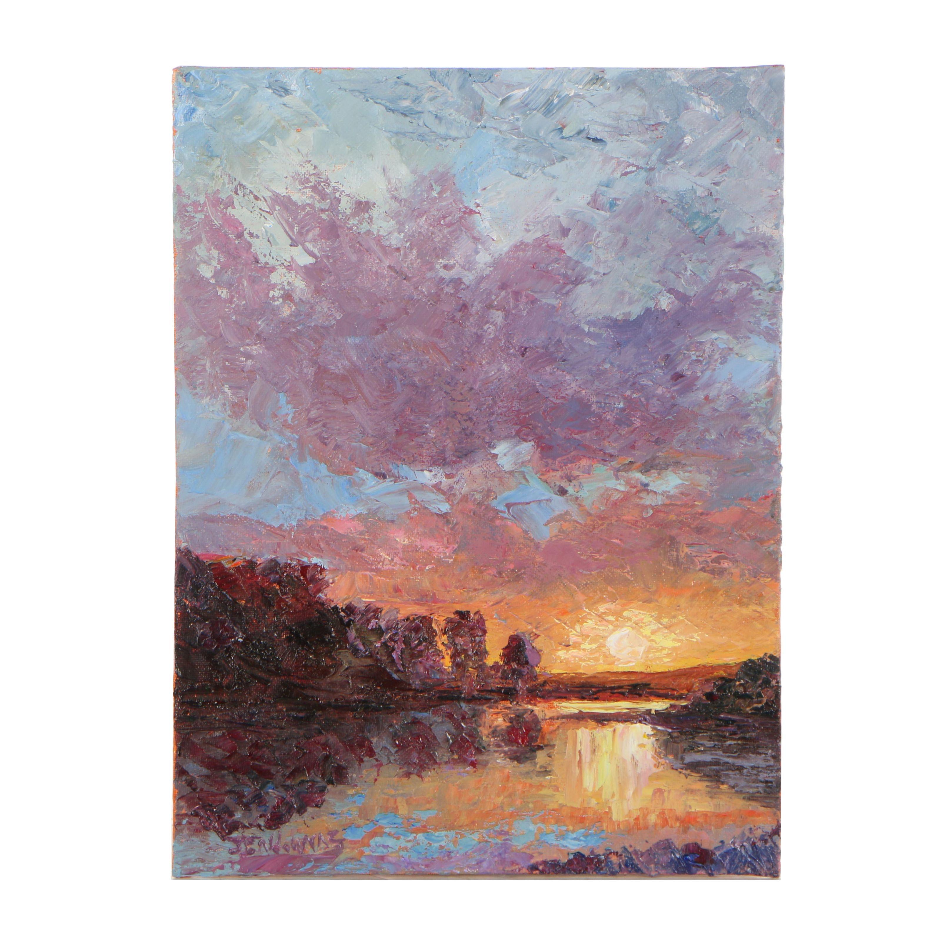"James Baldoumas Oil Painting ""Sunset"""