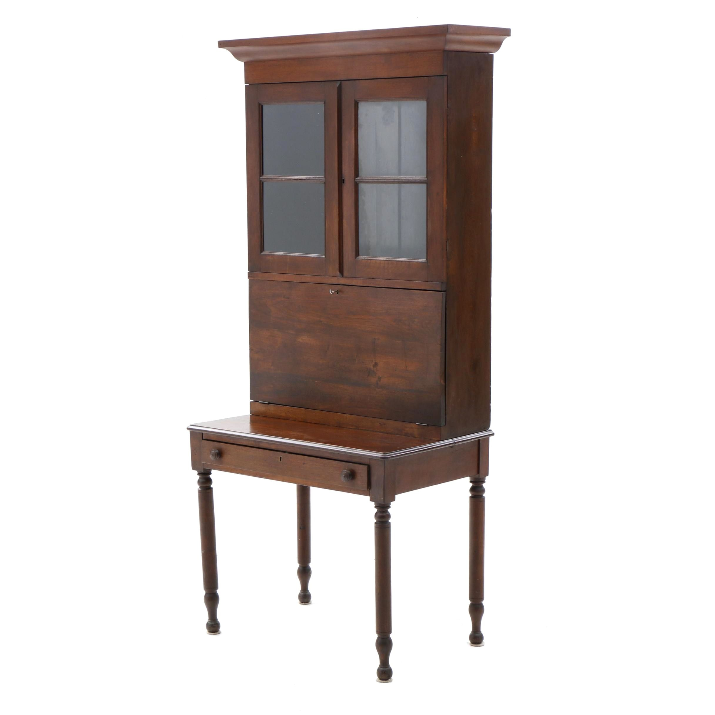 Federal Style Mixed Hardwood Drop Front Secretary, Mid-19th Century