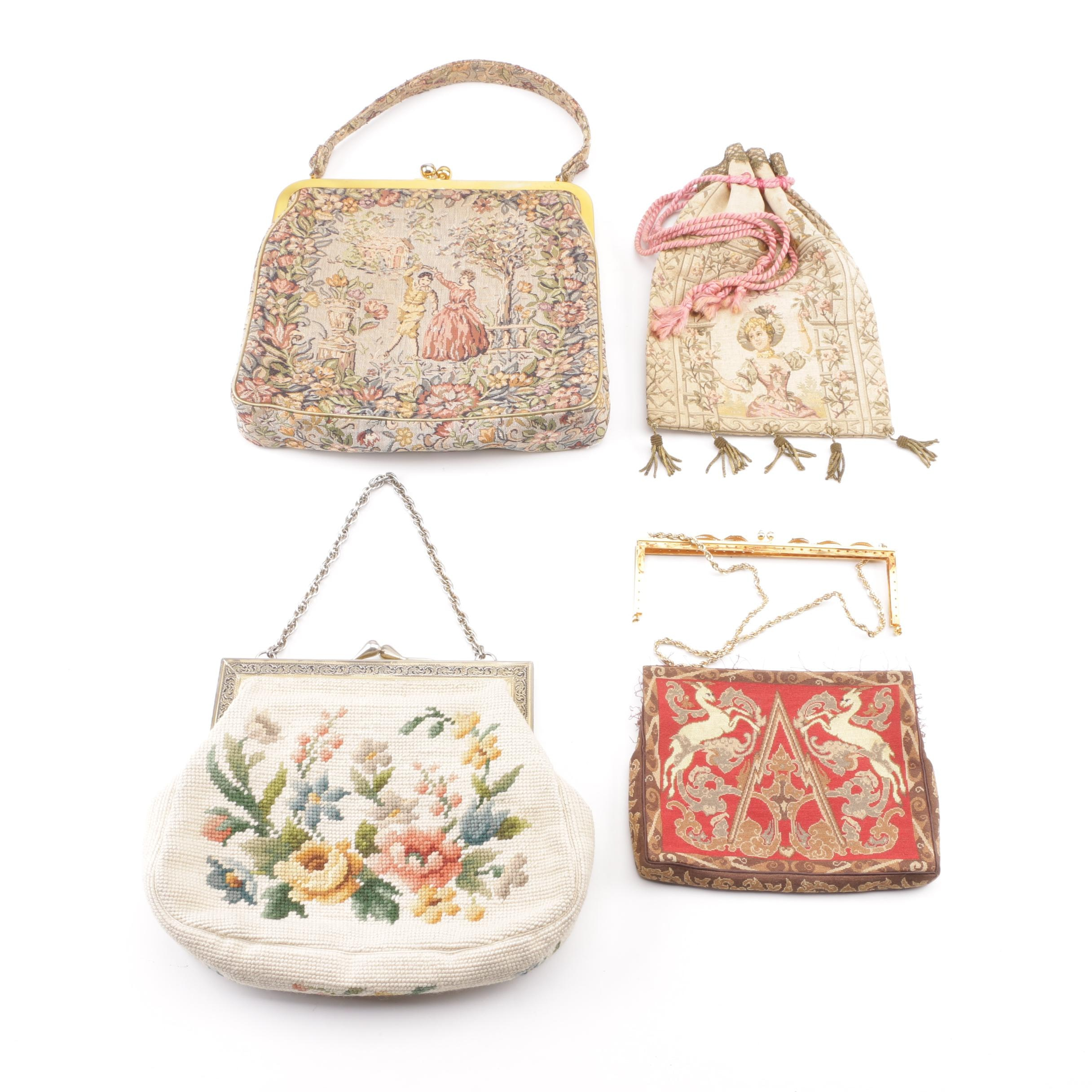 Vintage Tapestry and Needlepoint Frame Handbags and Drawstring Bag