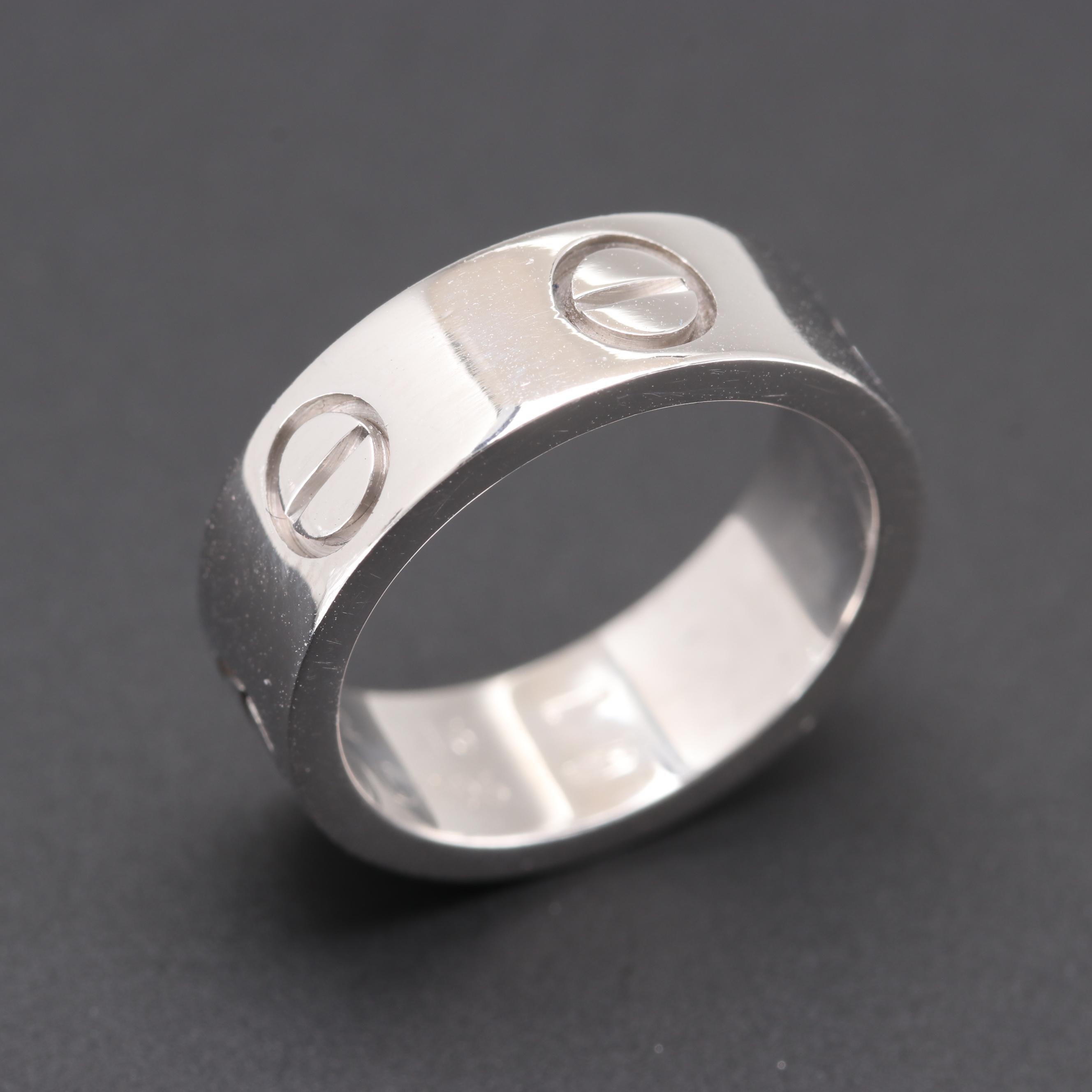 """Cartier 18K White Gold """"Love"""" Ring"""