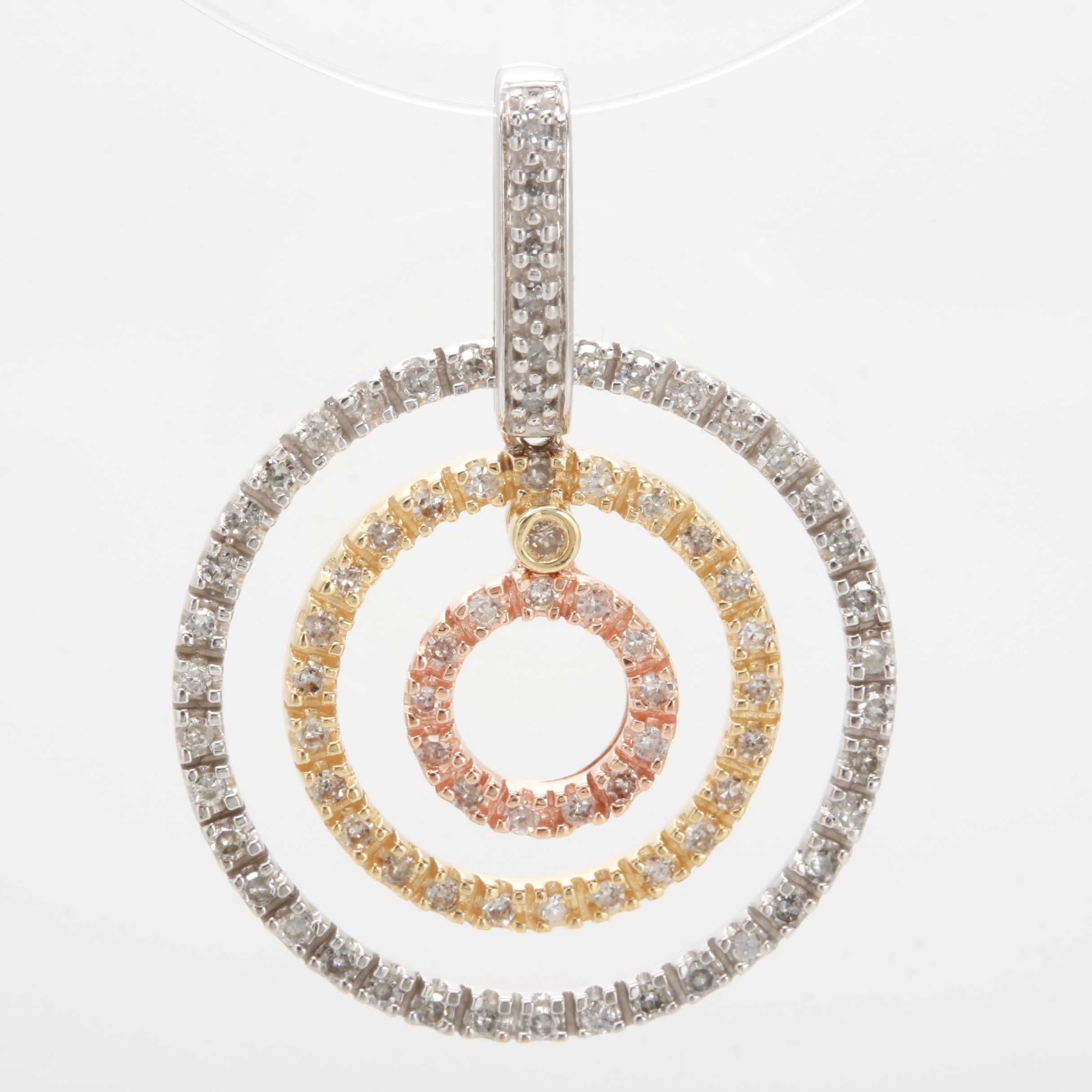 14K Tricolor Diamond Circle Pendant