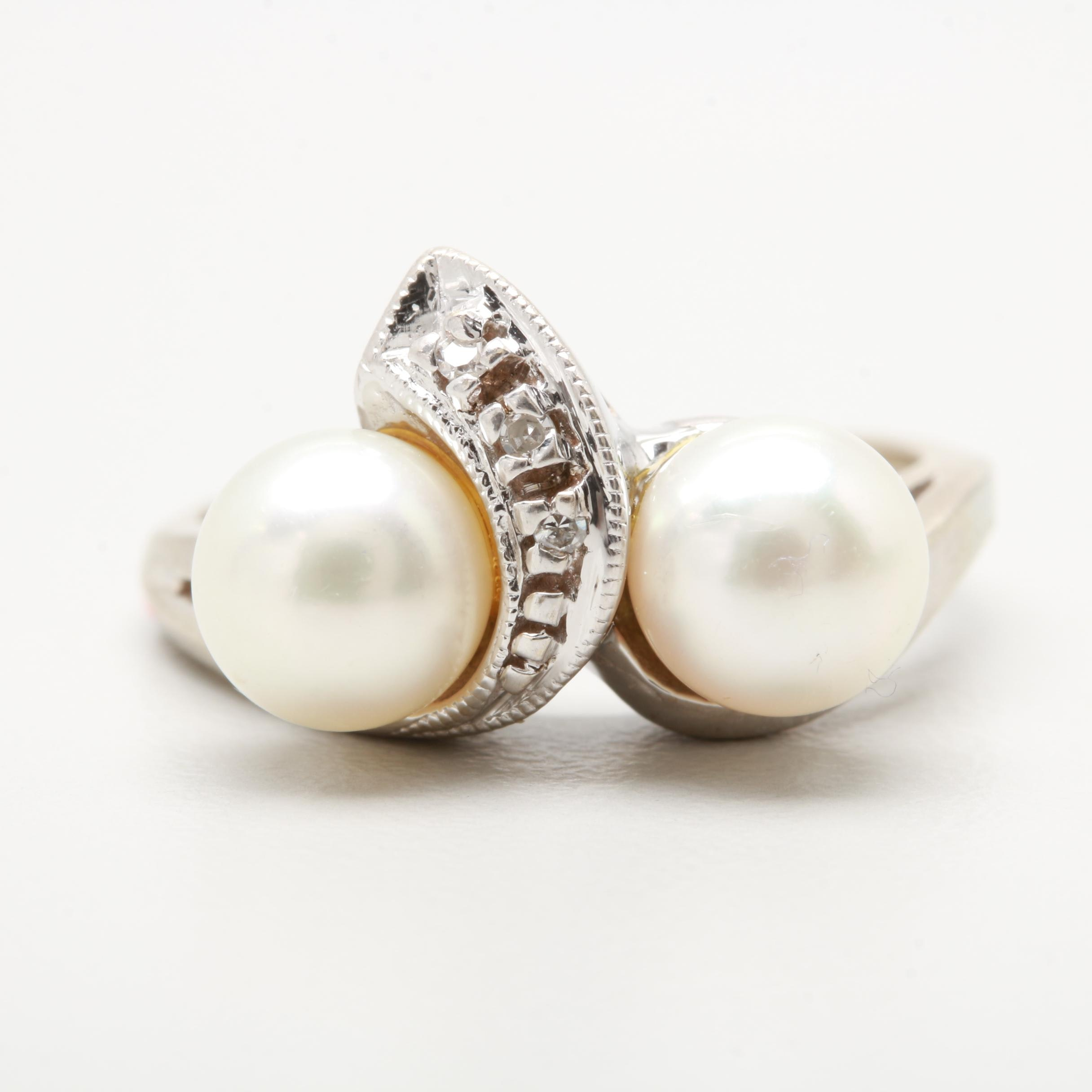 14K White Gold Cultured Pearl and Diamond Toi et Moi Ring