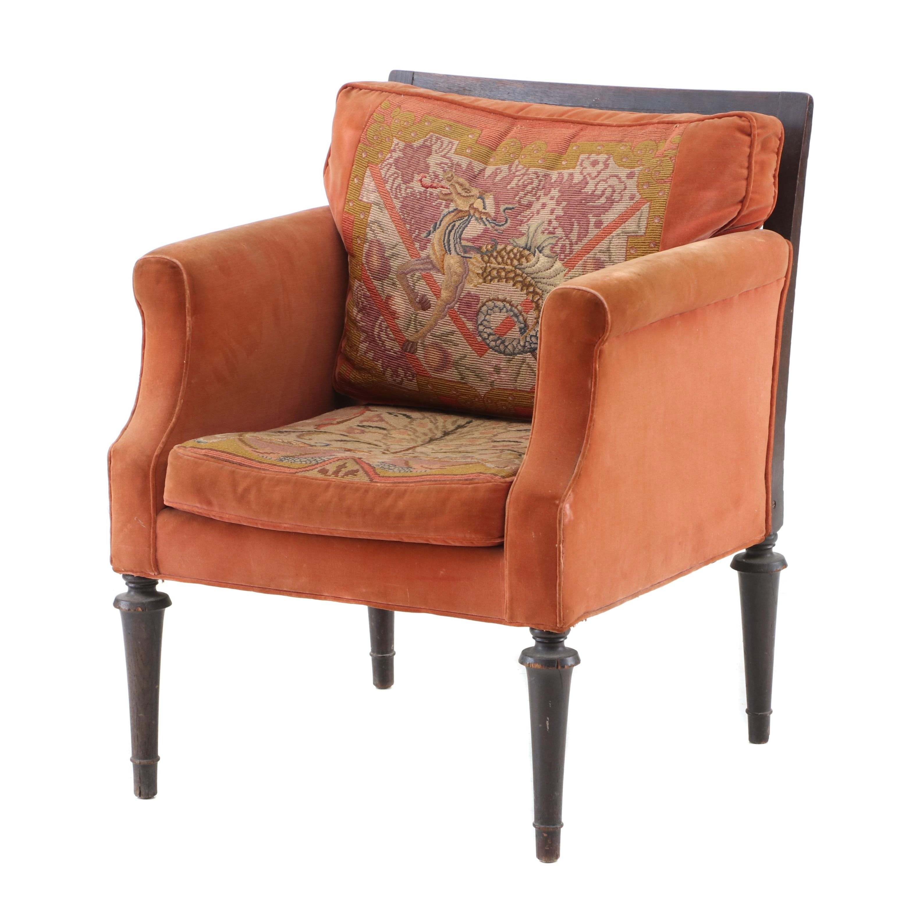 Late Victorian Upholstered and Mahogany Armchair, Early 20th Century