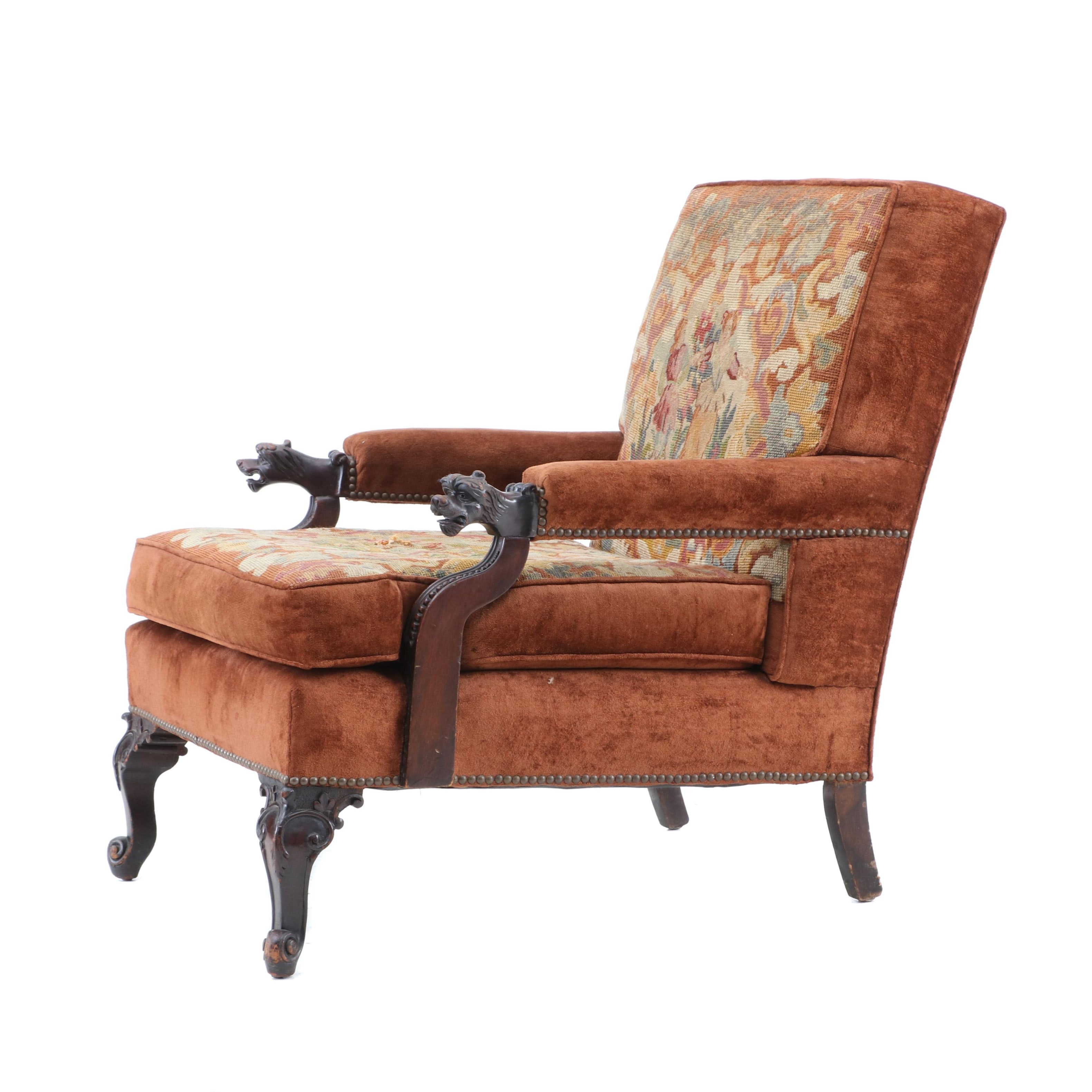 Victorian Mahogany and Upholstered Armchair, Mid-19th Century