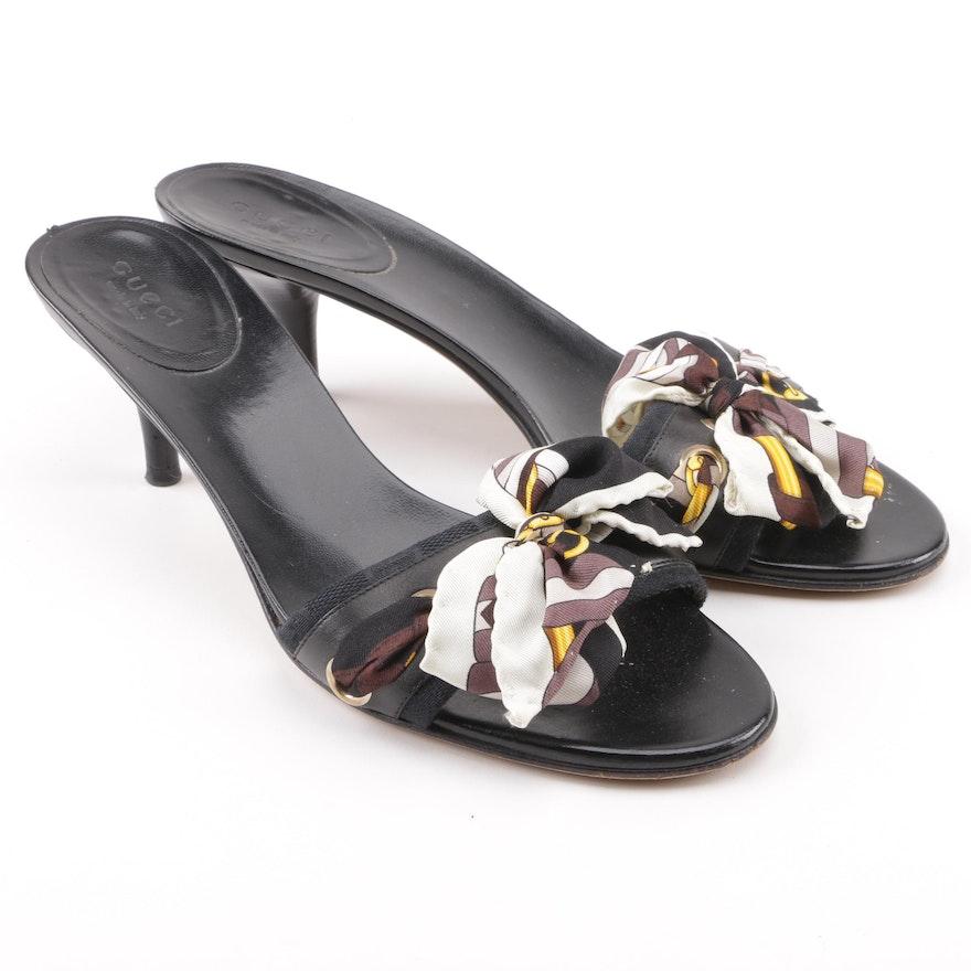 bfb79c93a7e Gucci Silk Tie Kitten Heel Slide Sandals   EBTH