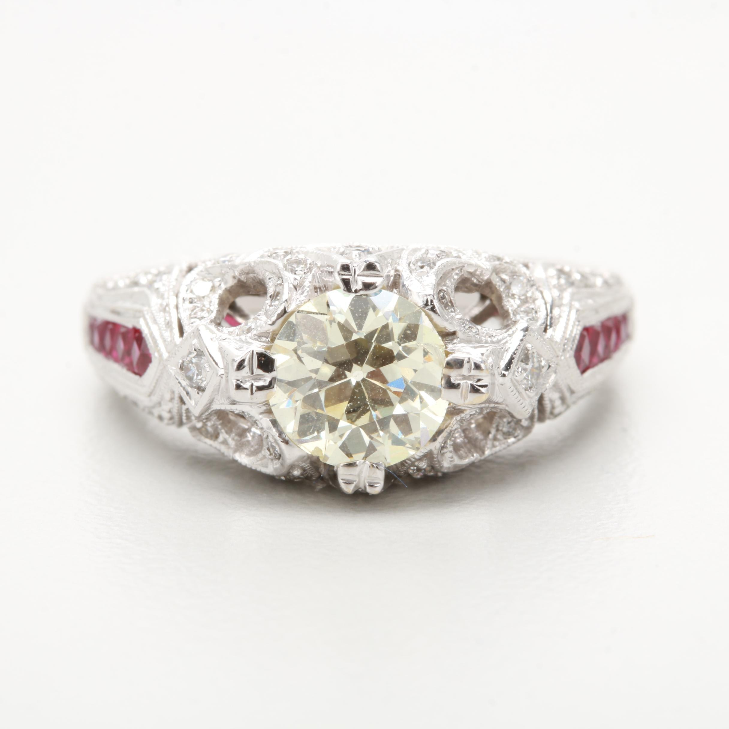 18K White Gold 1.73 CT Diamond and Ruby Ring