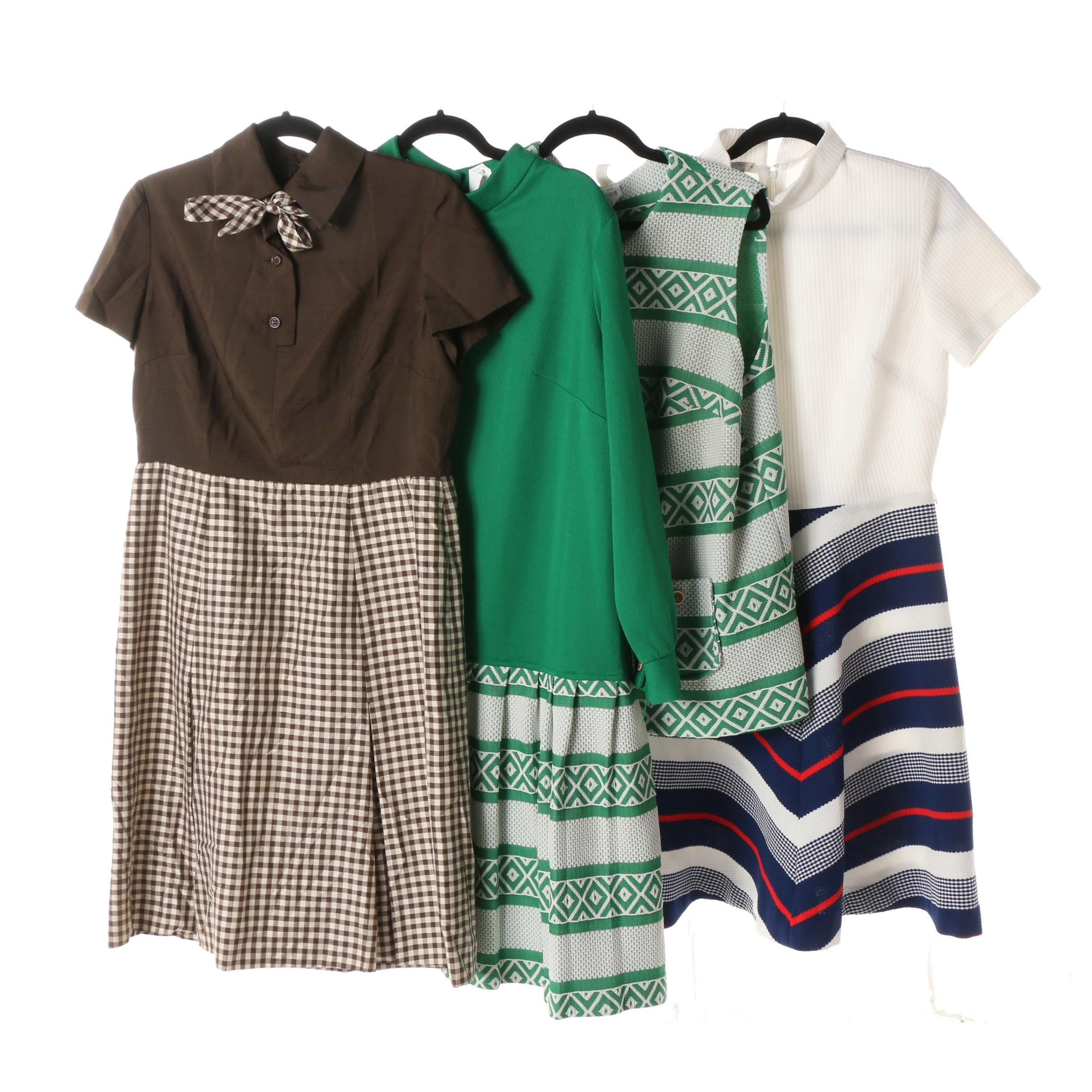 Circa 1970s Bill Blass Brown Gingham and Other Casual Dresses