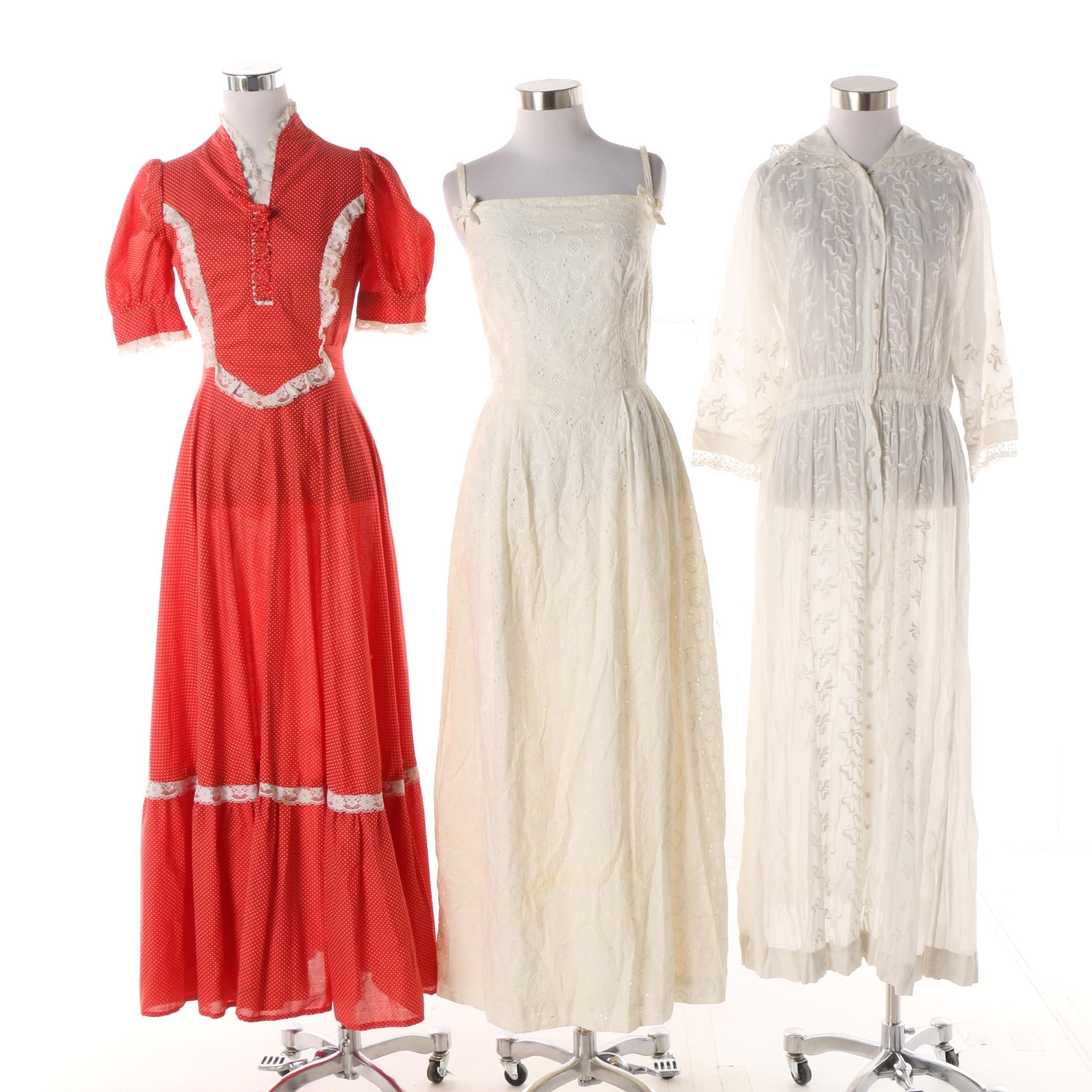 Women's Vintage Polka Dot, Eyelet and Embroidered Maxi Dresses