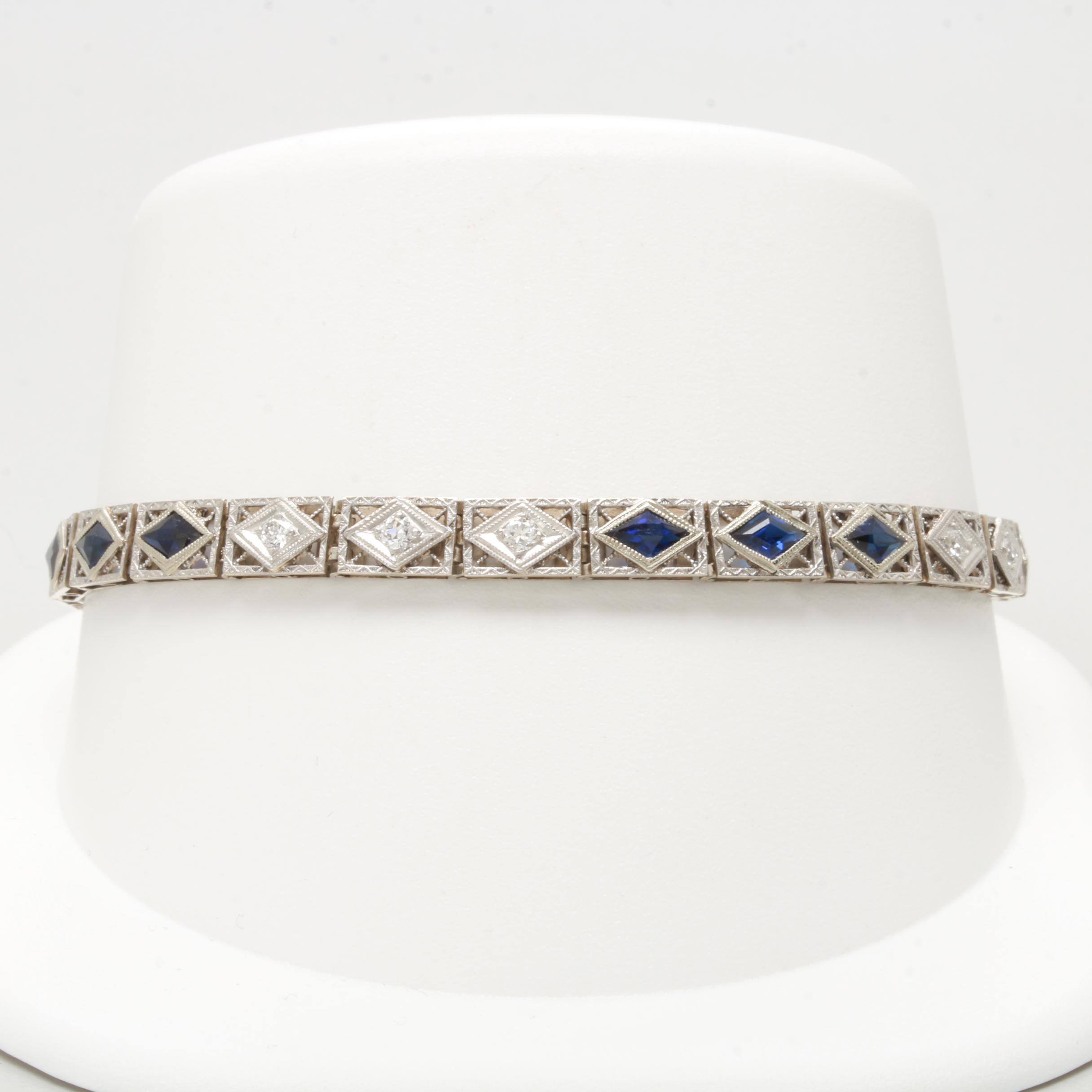 Circa 1930s 14K White Gold Diamond and Synthetic Sapphire Bracelet