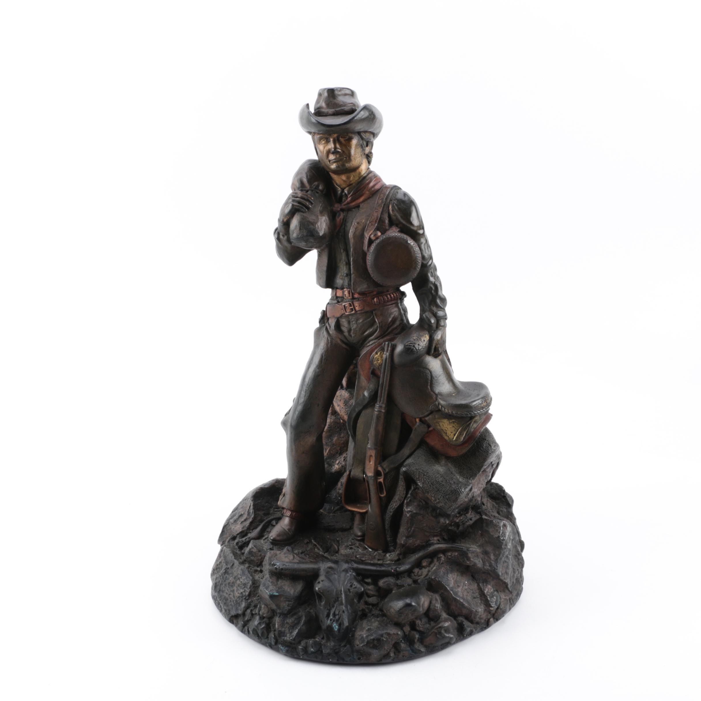 Reproduction Cowboy Sculpture After Dan Hughes