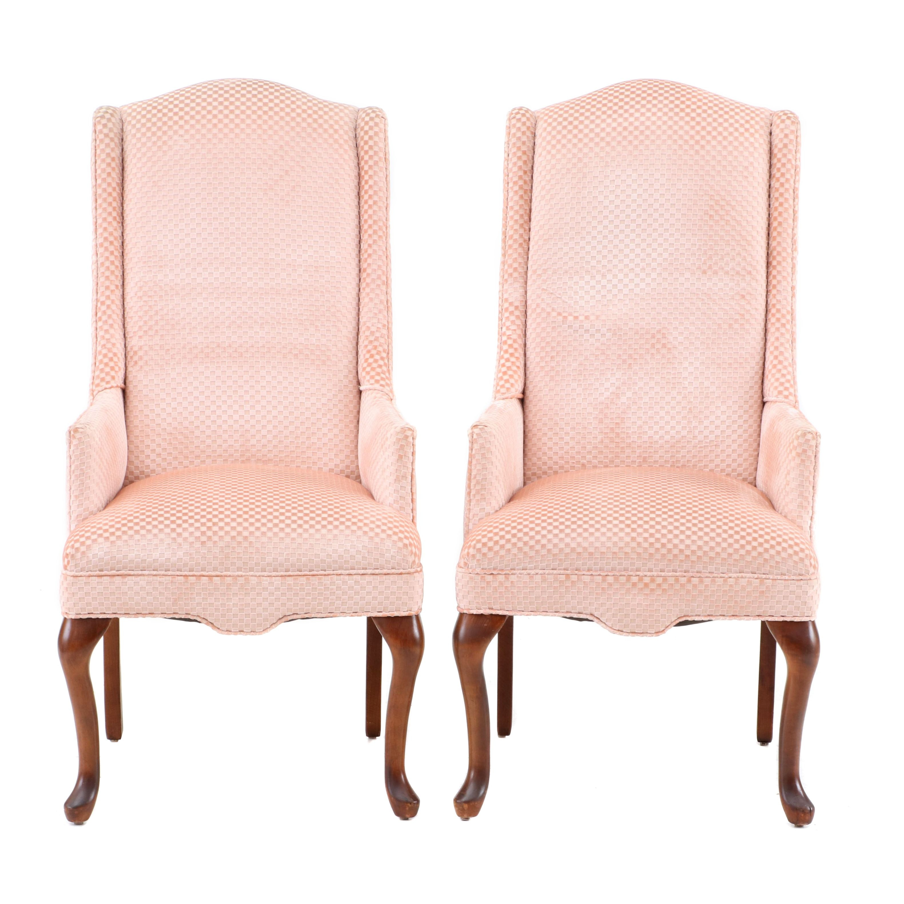 Pair of Pink Wingback Armchairs, Late 20th Century
