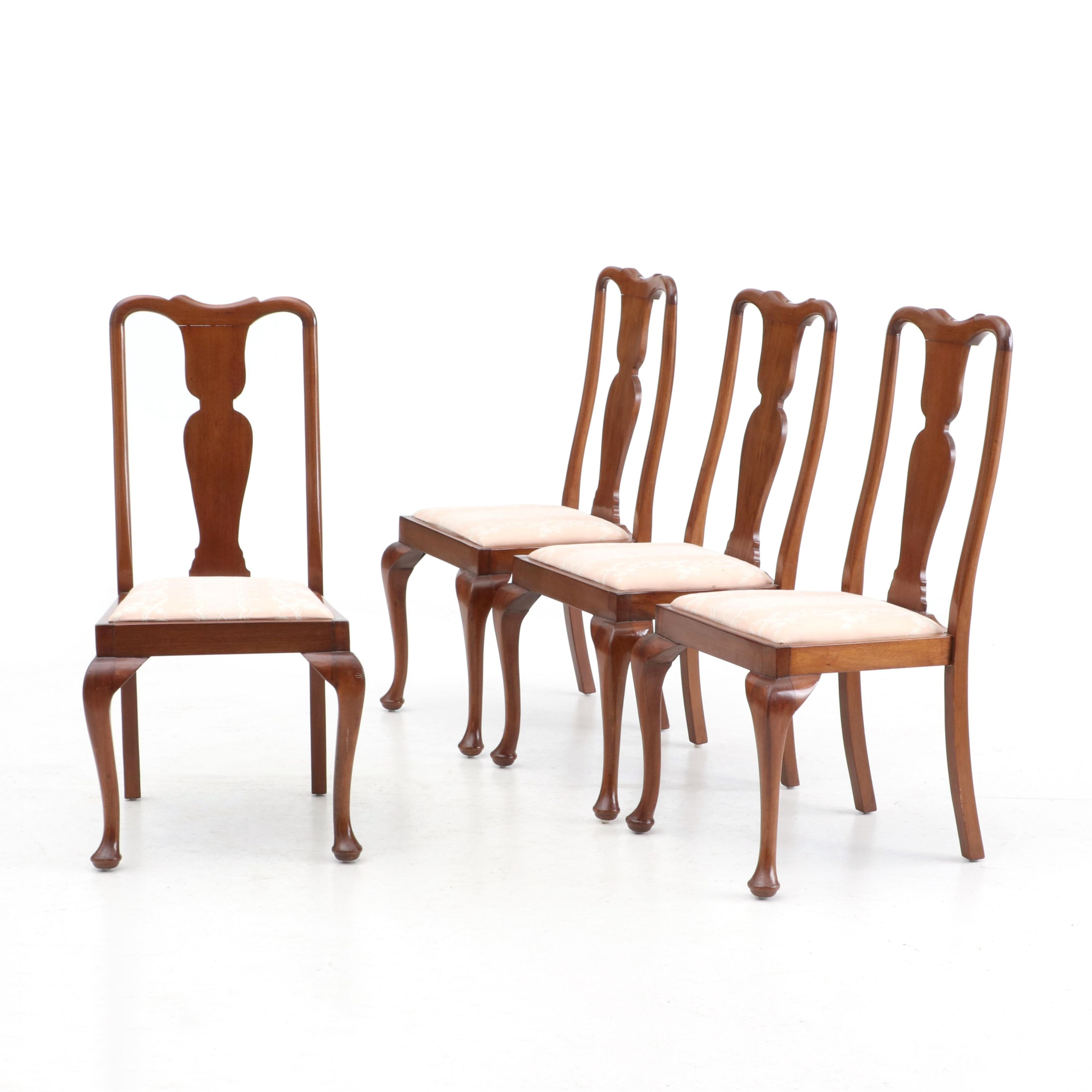 Set of Four Queen Anne Style Mahogany Chairs, Late 20th Century