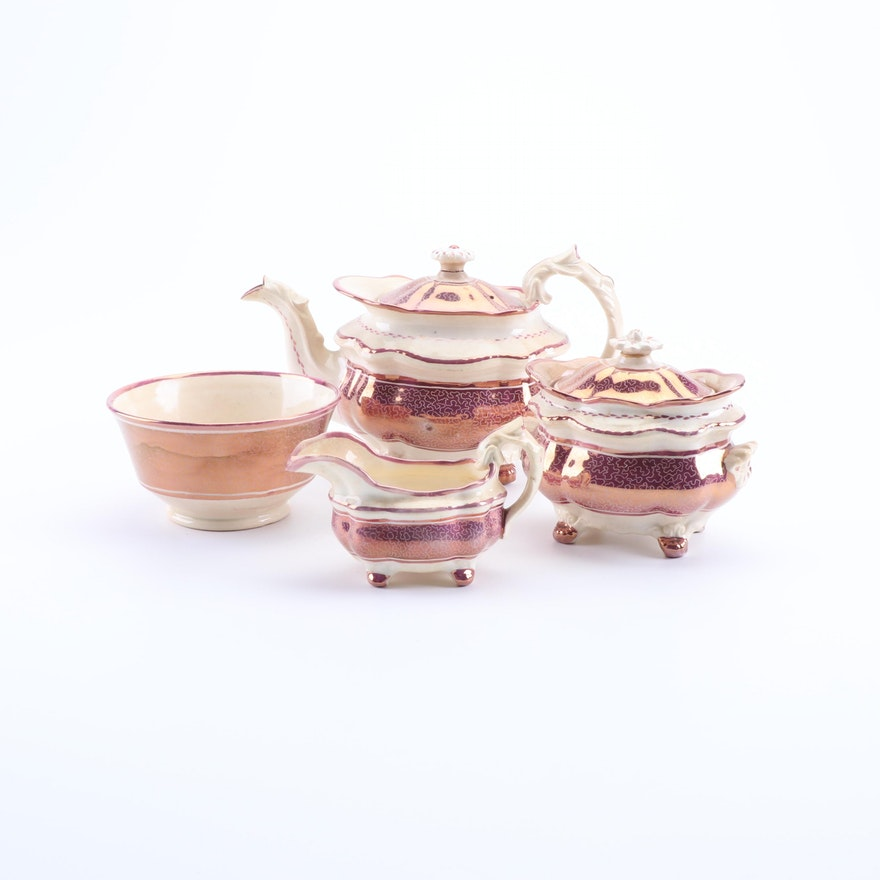 Antique English Pink Luster Pearlware Tea Set