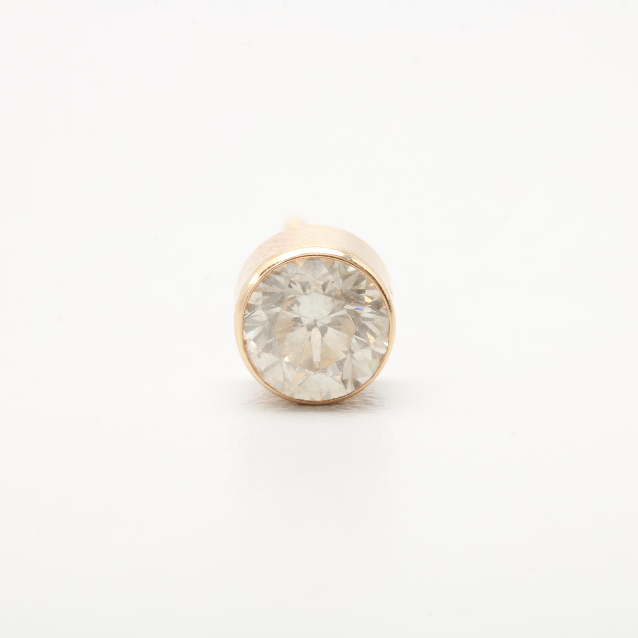 14K Yellow Gold Diamond Bezel Single Earring