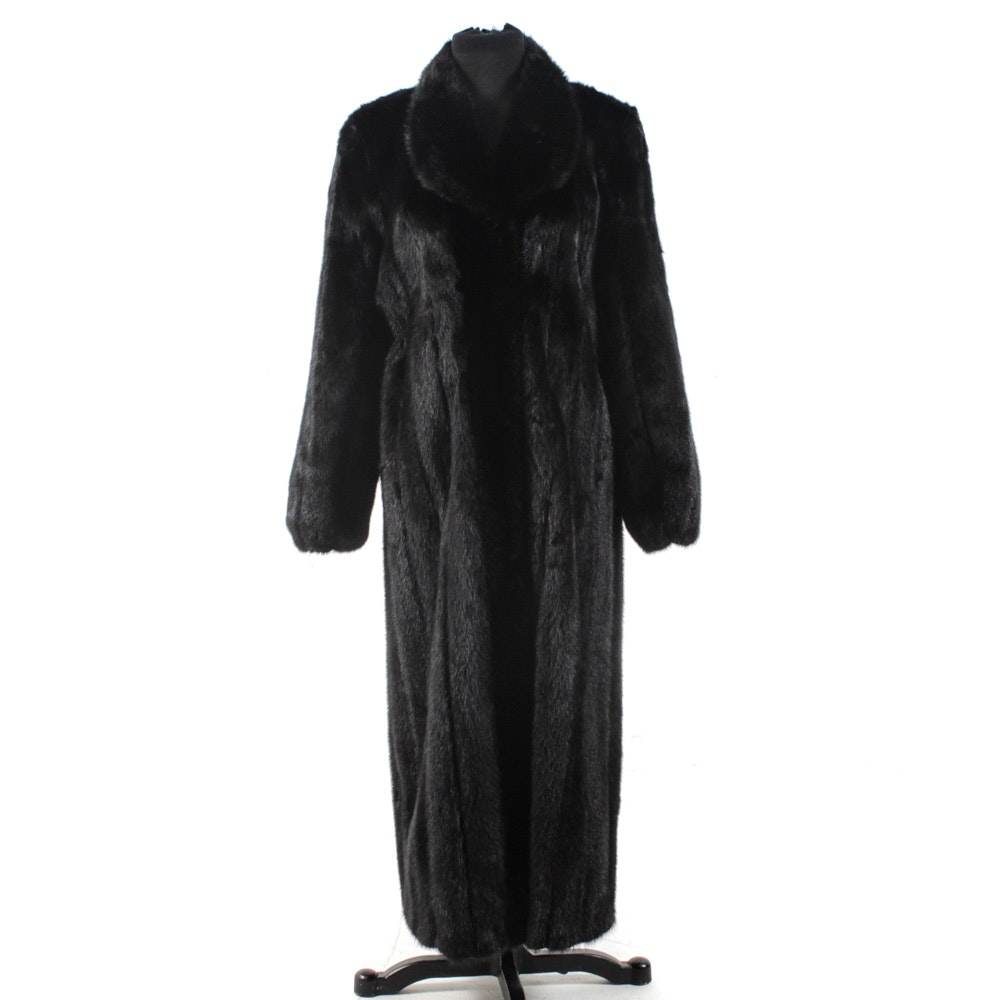 Contemporary Dyed Black Mink Fur Coat by John Ross