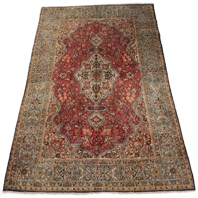 Semi-Antique Hand-Knotted Persian Qum Rug