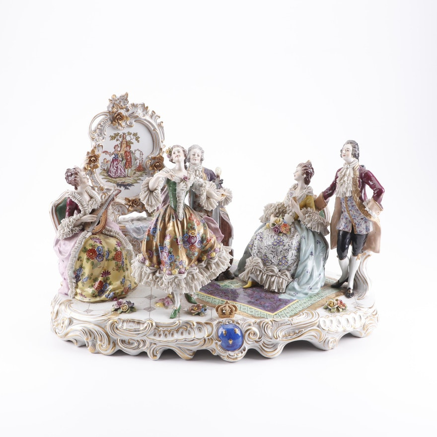 Aelteste Volkstedt Porcelain Figural Scene, 20th Century