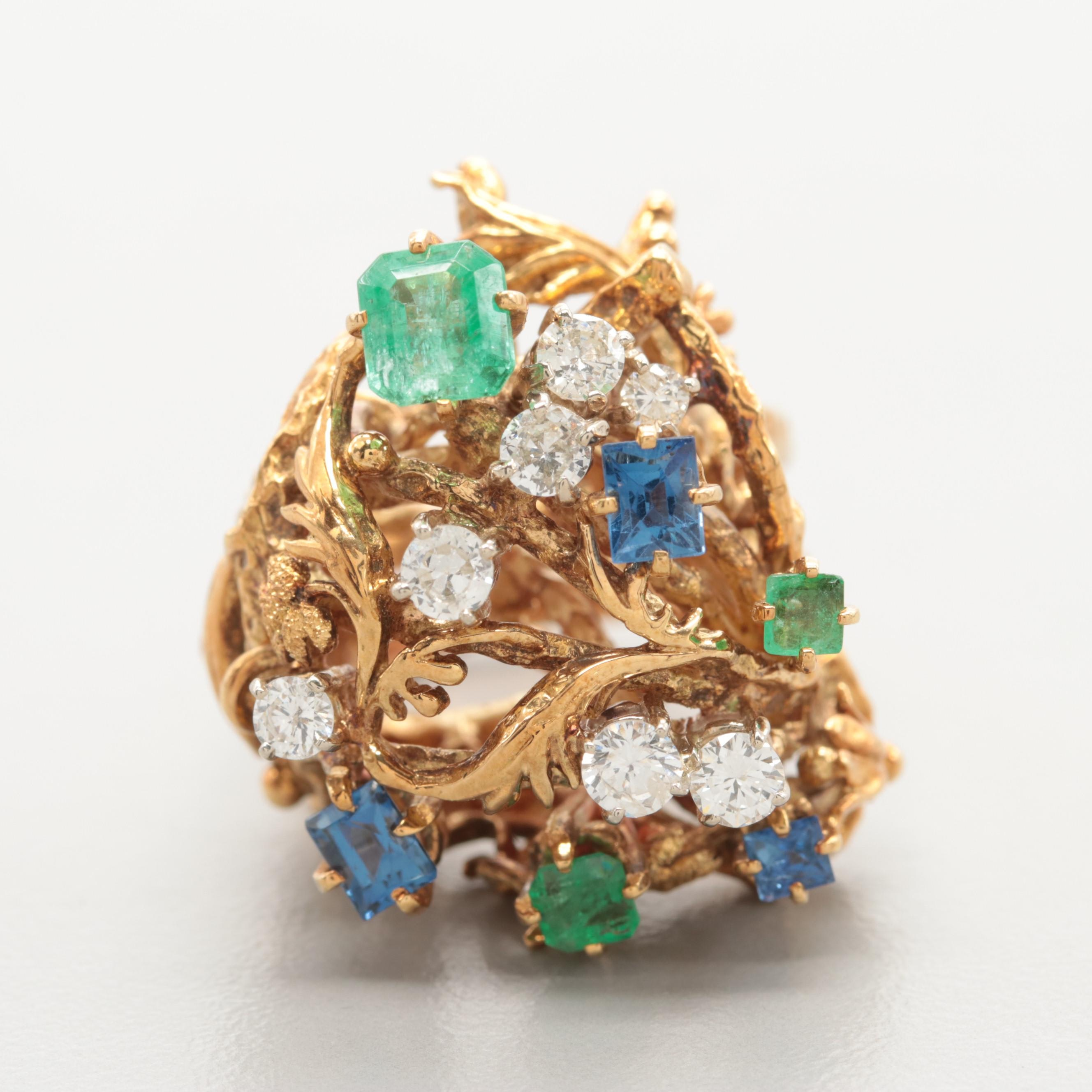 Circa 1970s Biomorphic 18K Yellow Gold Diamond, Emerald and Blue Sapphire Ring