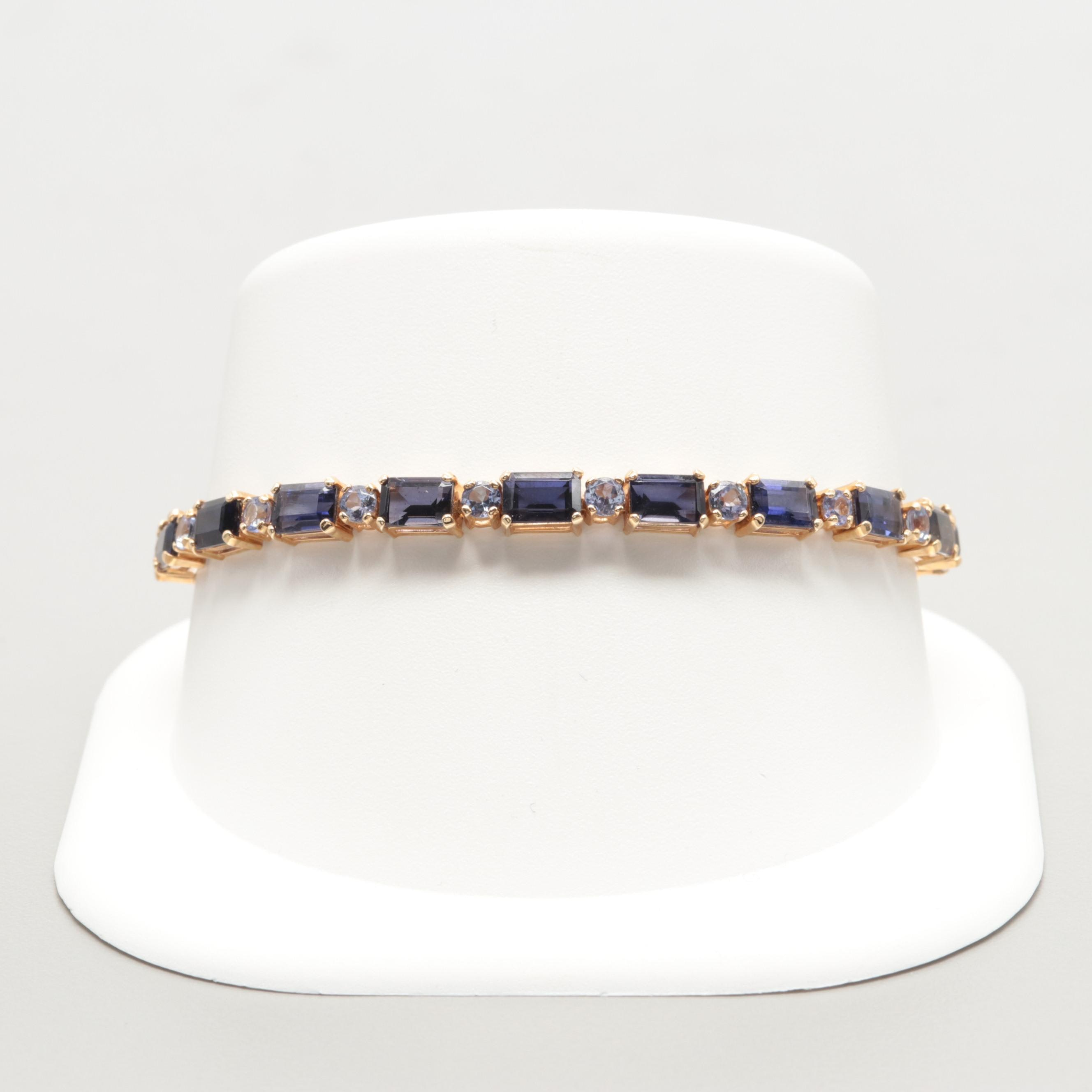 14K Yellow Gold Tanzanite and Iolite Bracelet