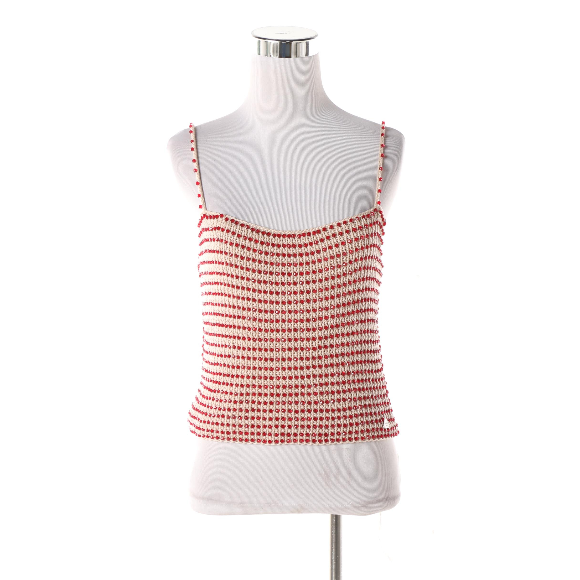 Chanel Beaded Cotton Crochet Knit Cropped Tank Top
