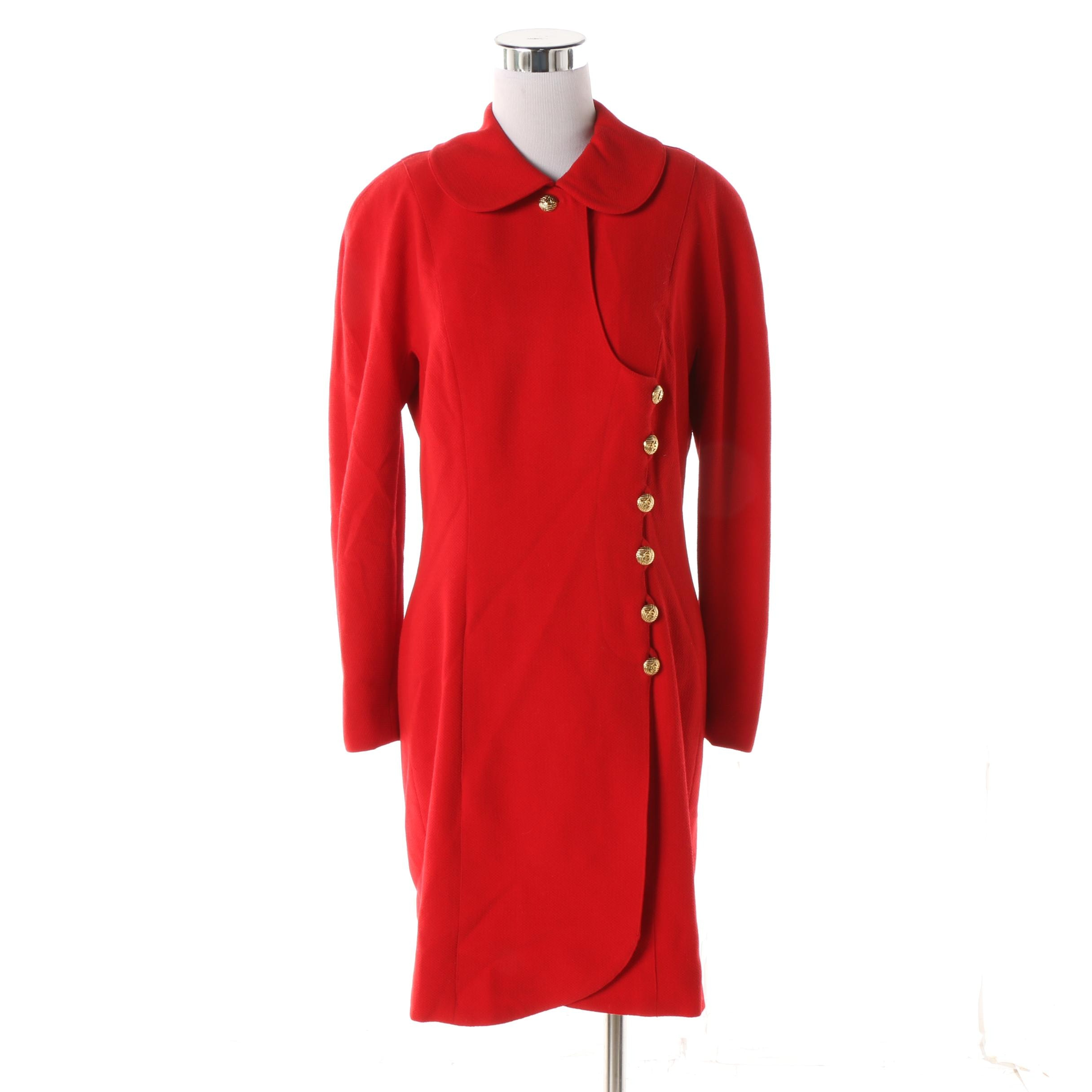 Women's Circa 1980s Chanel Boutique Red Wool Day Dress