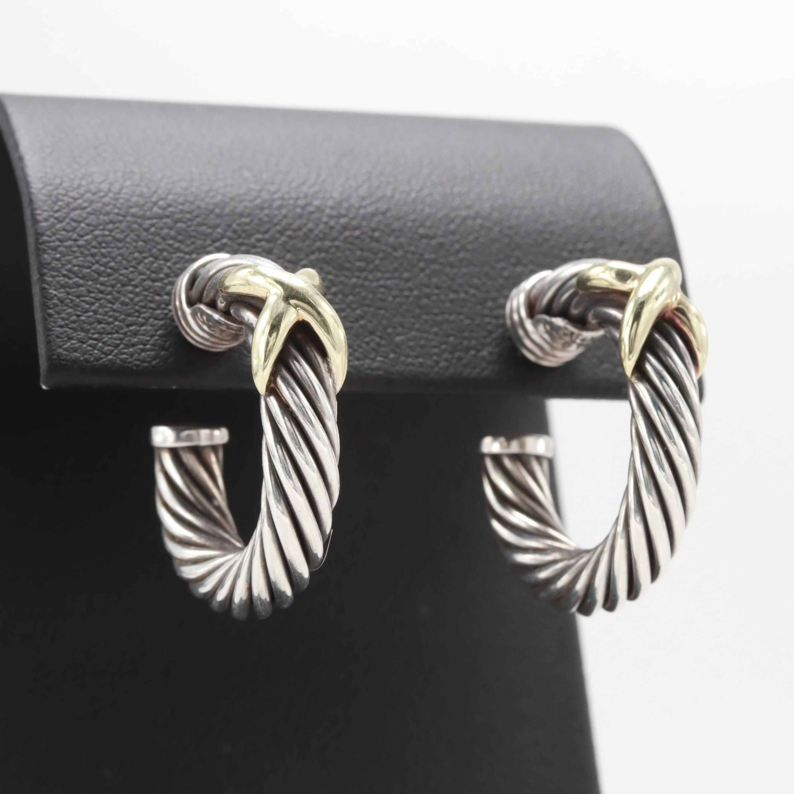 """David Yurman Sterling Silver """"X"""" Cable Earrings with 14K Yellow Gold Accents"""