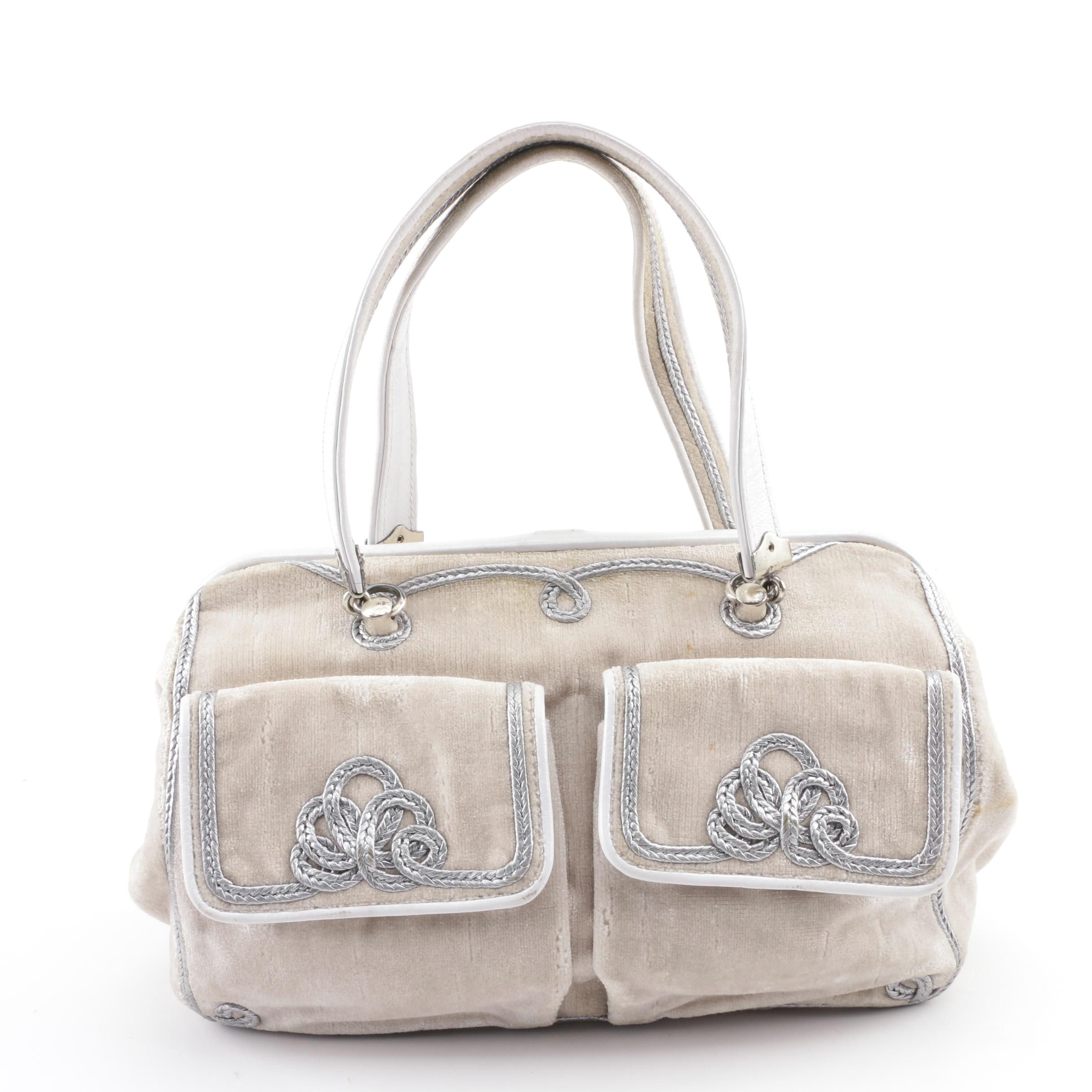 Bottega Veneta Champagne Velvet Satchel with Silver Metallic Braiding