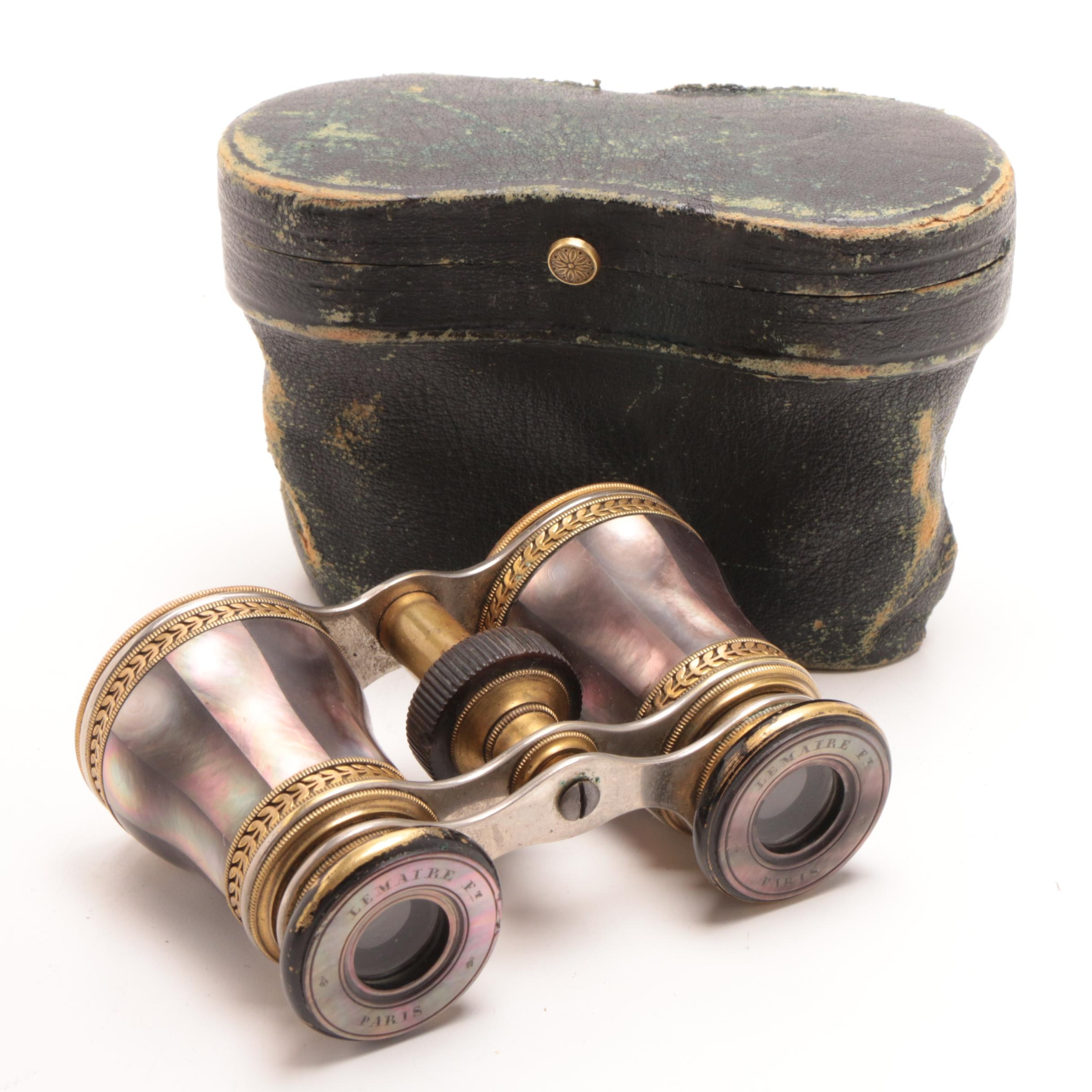 Lemaire Mother of Pearl Opera Glasses with Leather Case, Early 20th Century