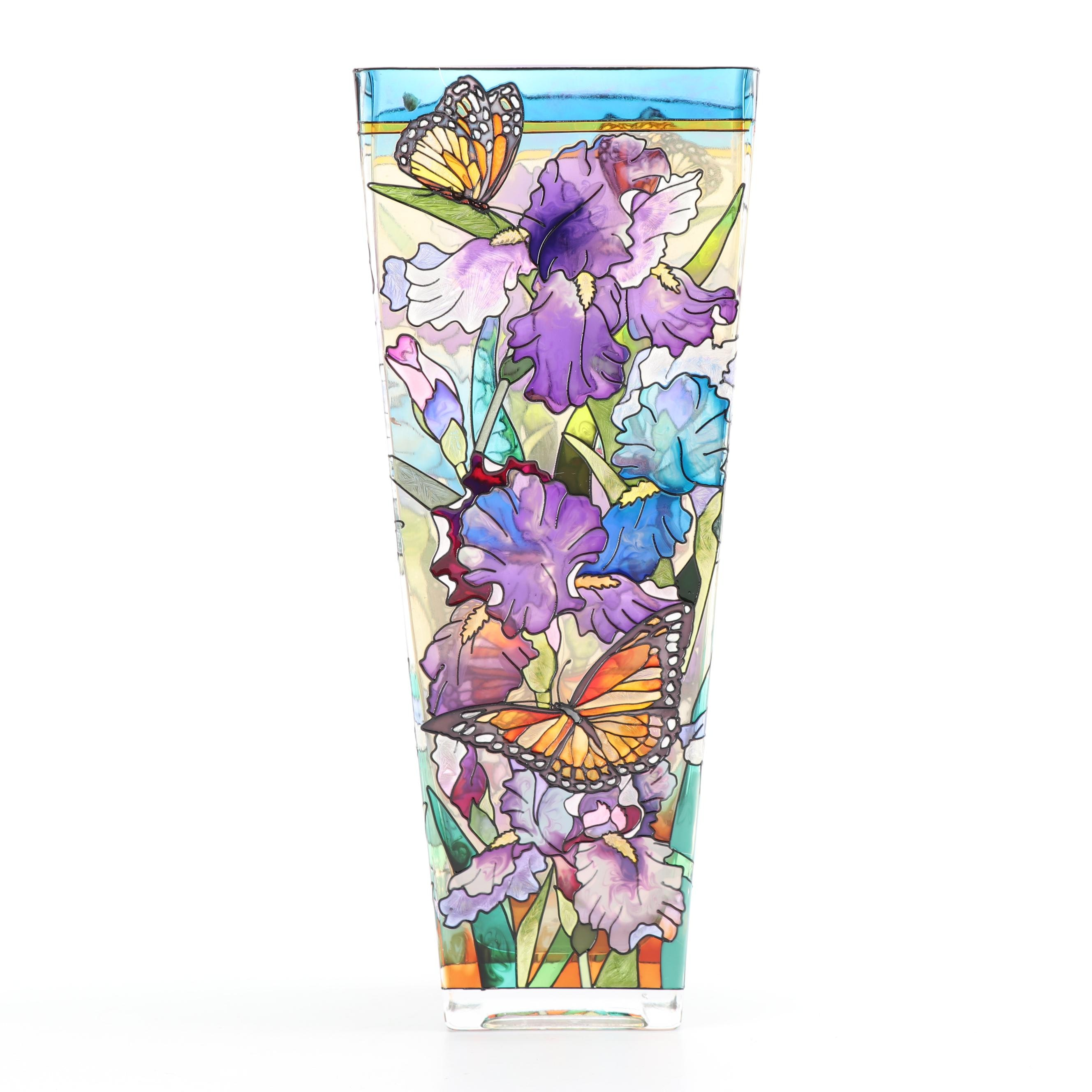 AMIA Studios Hand-Painted Iris Flower and Monarch Butterfly Themed Glass Vase