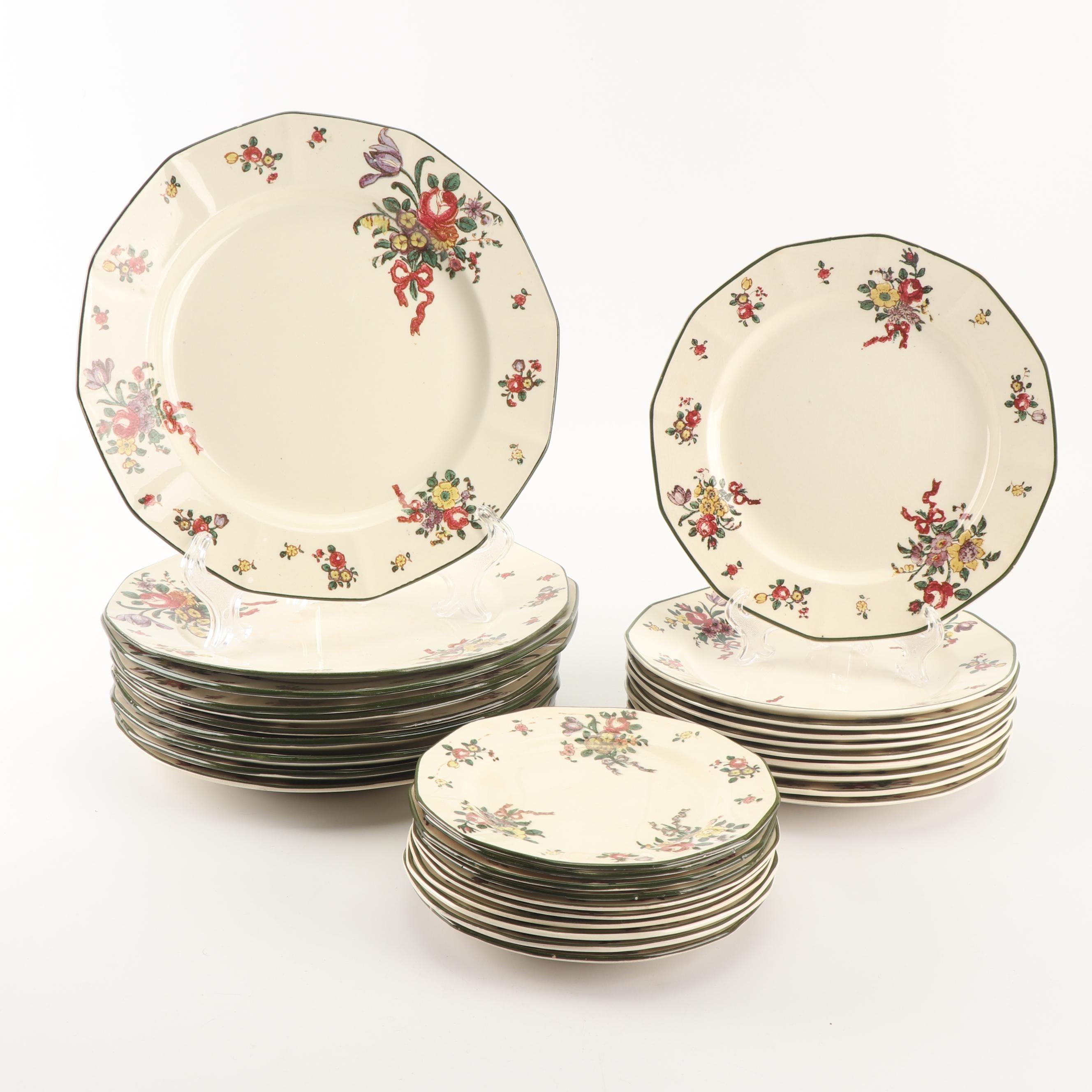 """Royal Doulton """"Old Leeds Spray"""" Earthenware Dinnerware, Circa 1912"""