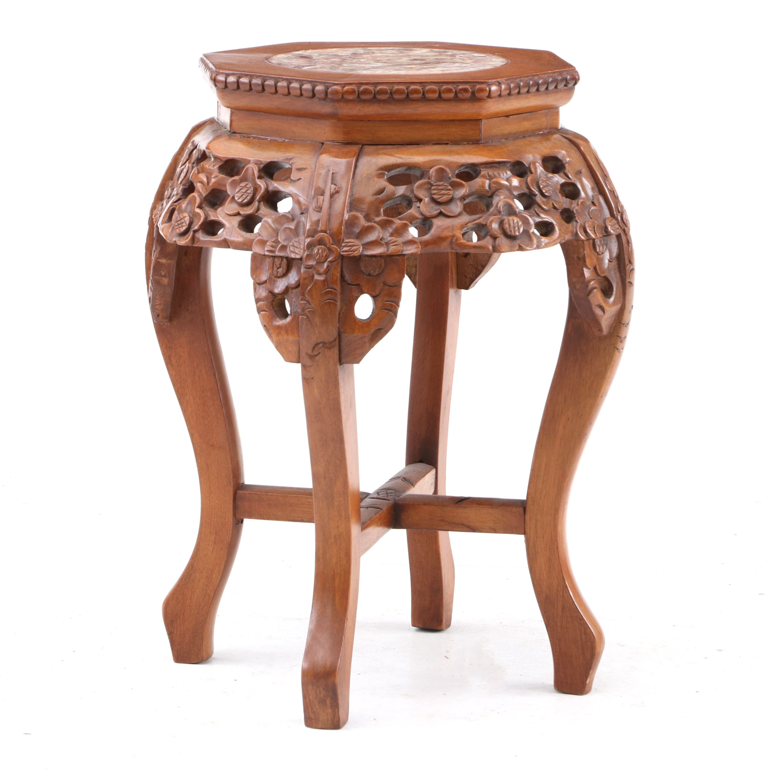 Chinese Marble Top Accent Table