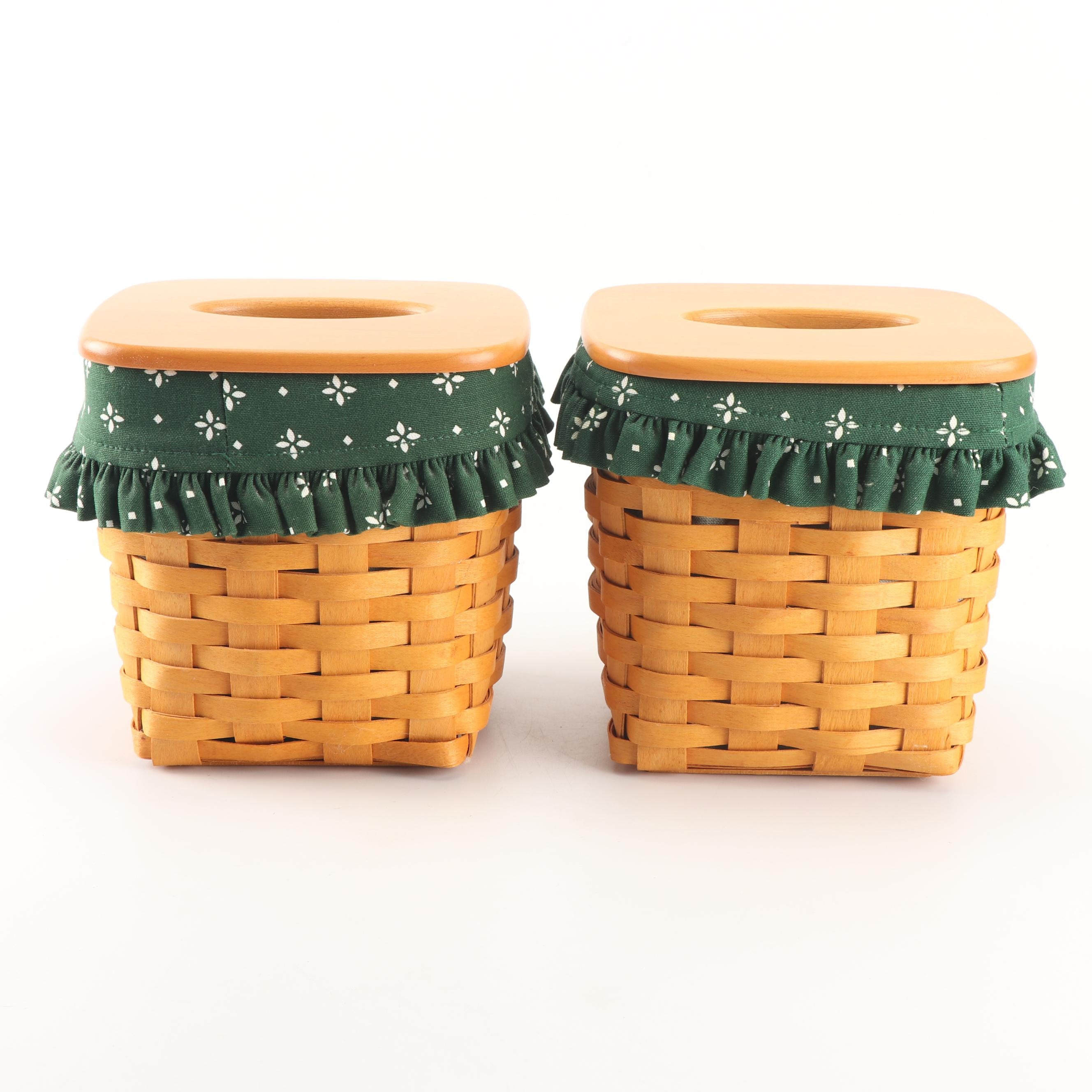 "Longaberger Tissue Baskets with ""Heritage Green"" Fabric Liners, 2000"