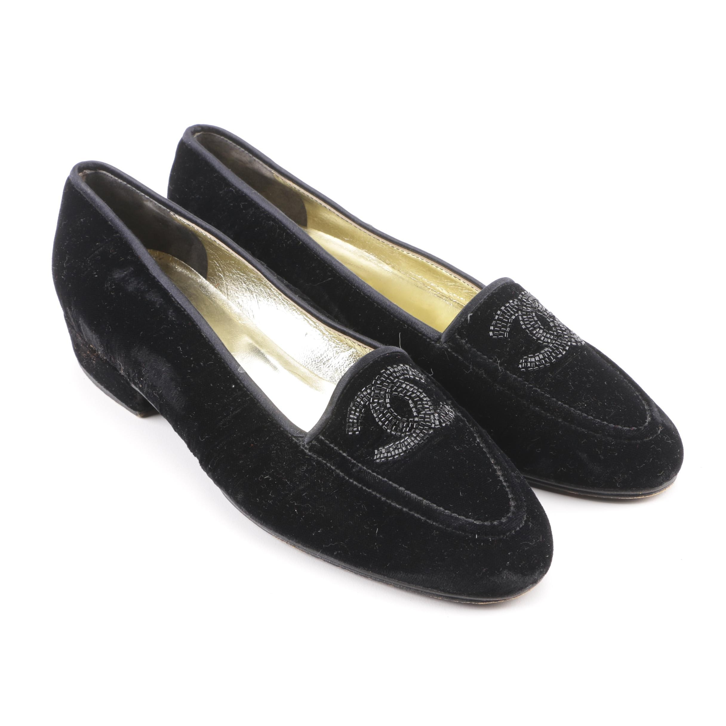 Women's Vintage Chanel Black Velvet Loafers with Beaded CC Logos