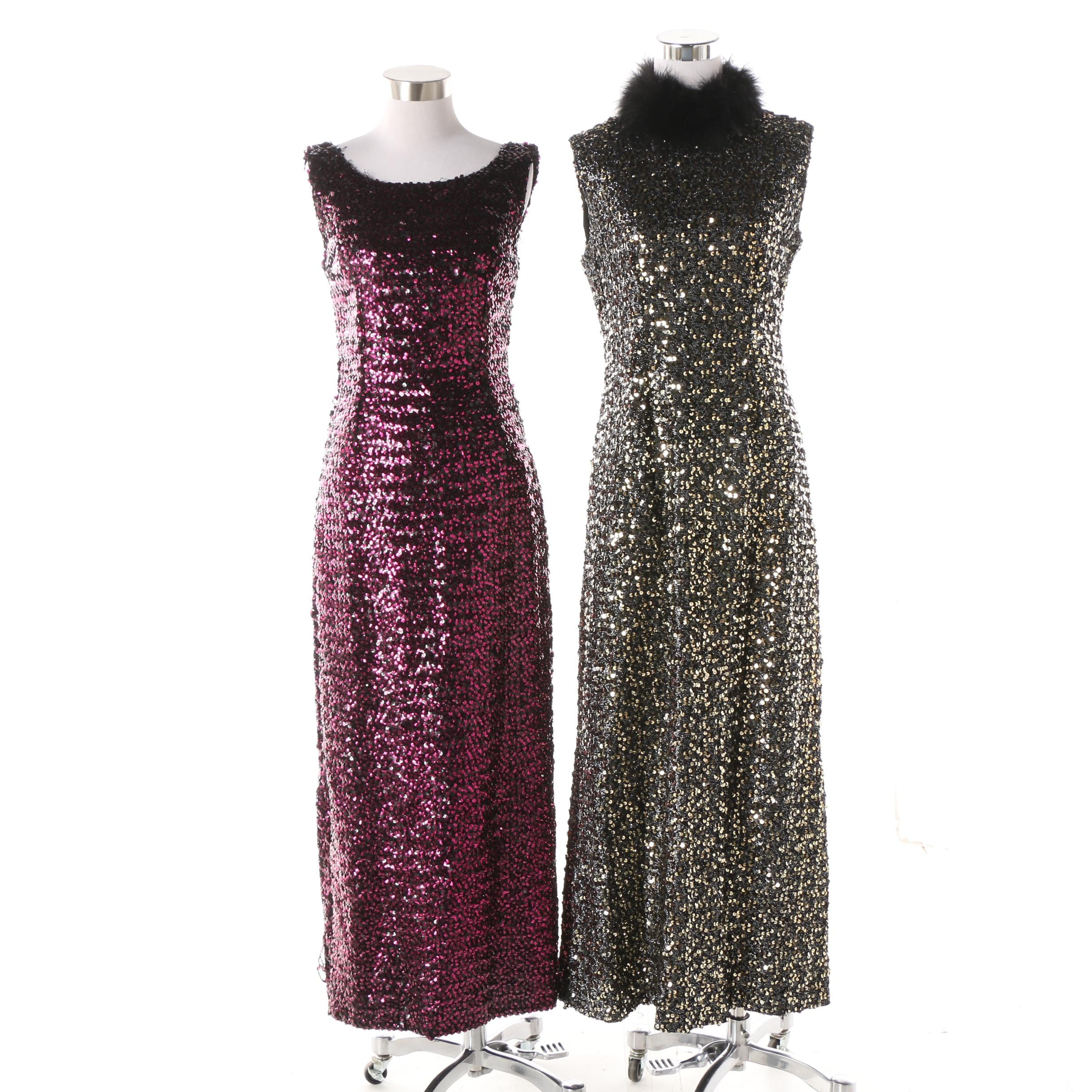 Vintage Sequined Sleeveless Evening Gowns Including Marabou Feather Collar