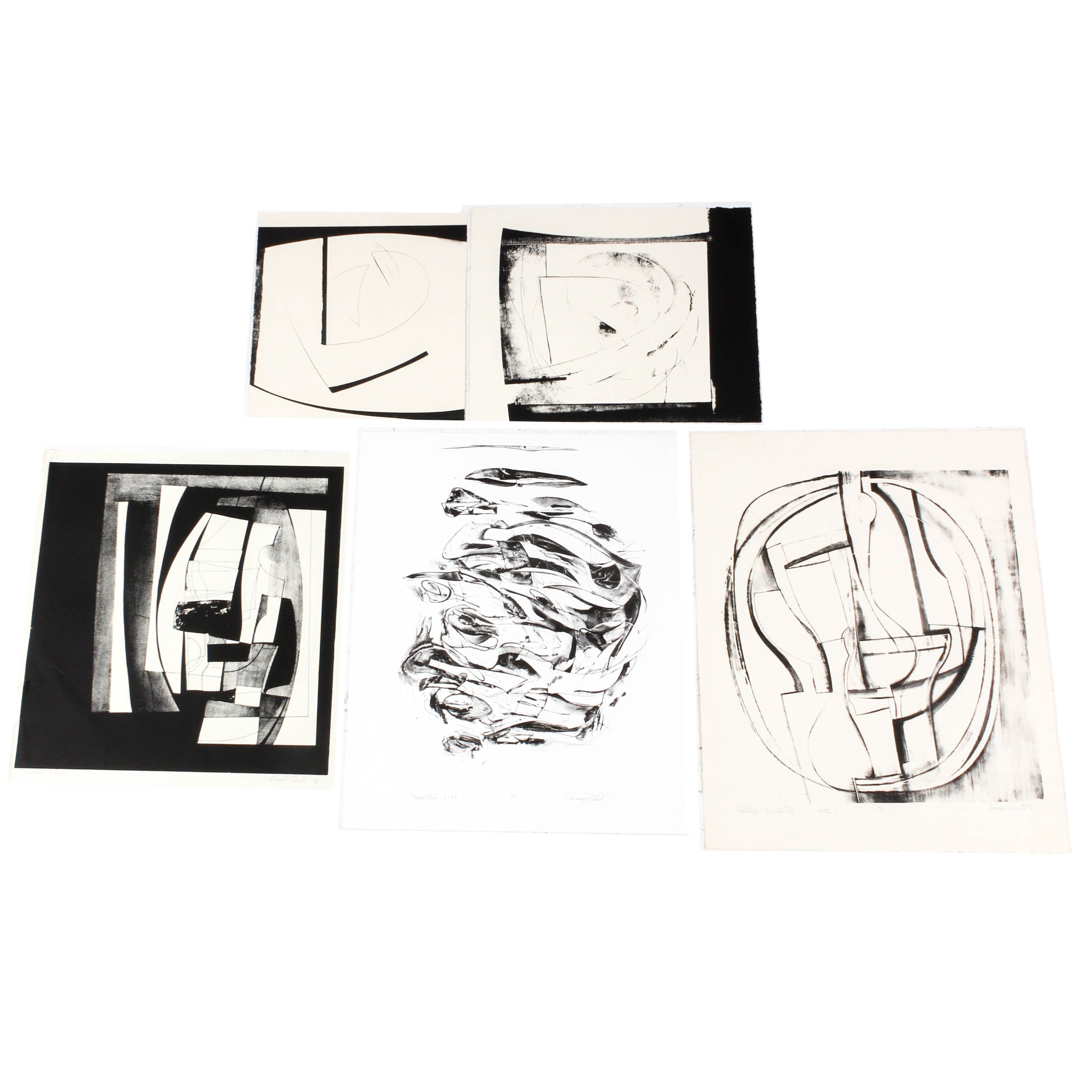 Donald Roberts 1960s Black and White Lithographic Artworks