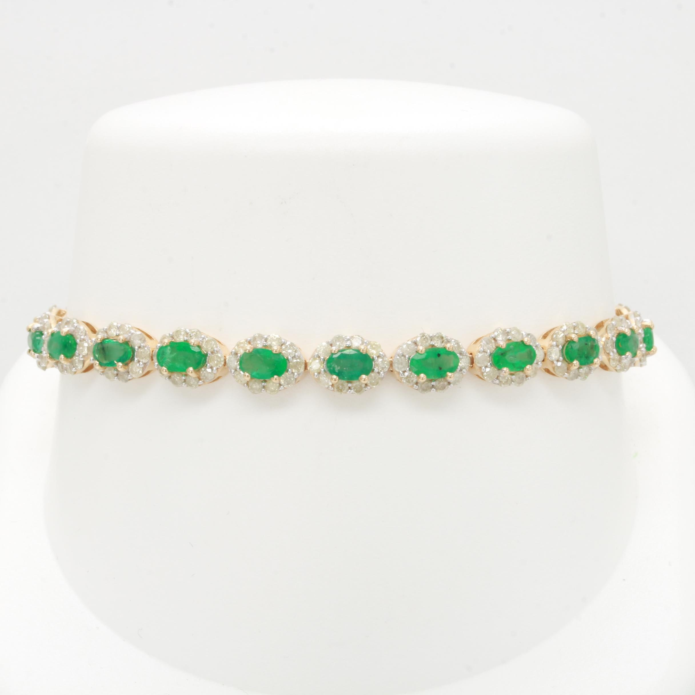 14K Yellow Gold Emerald and 3.55 CTW Diamond Bracelet