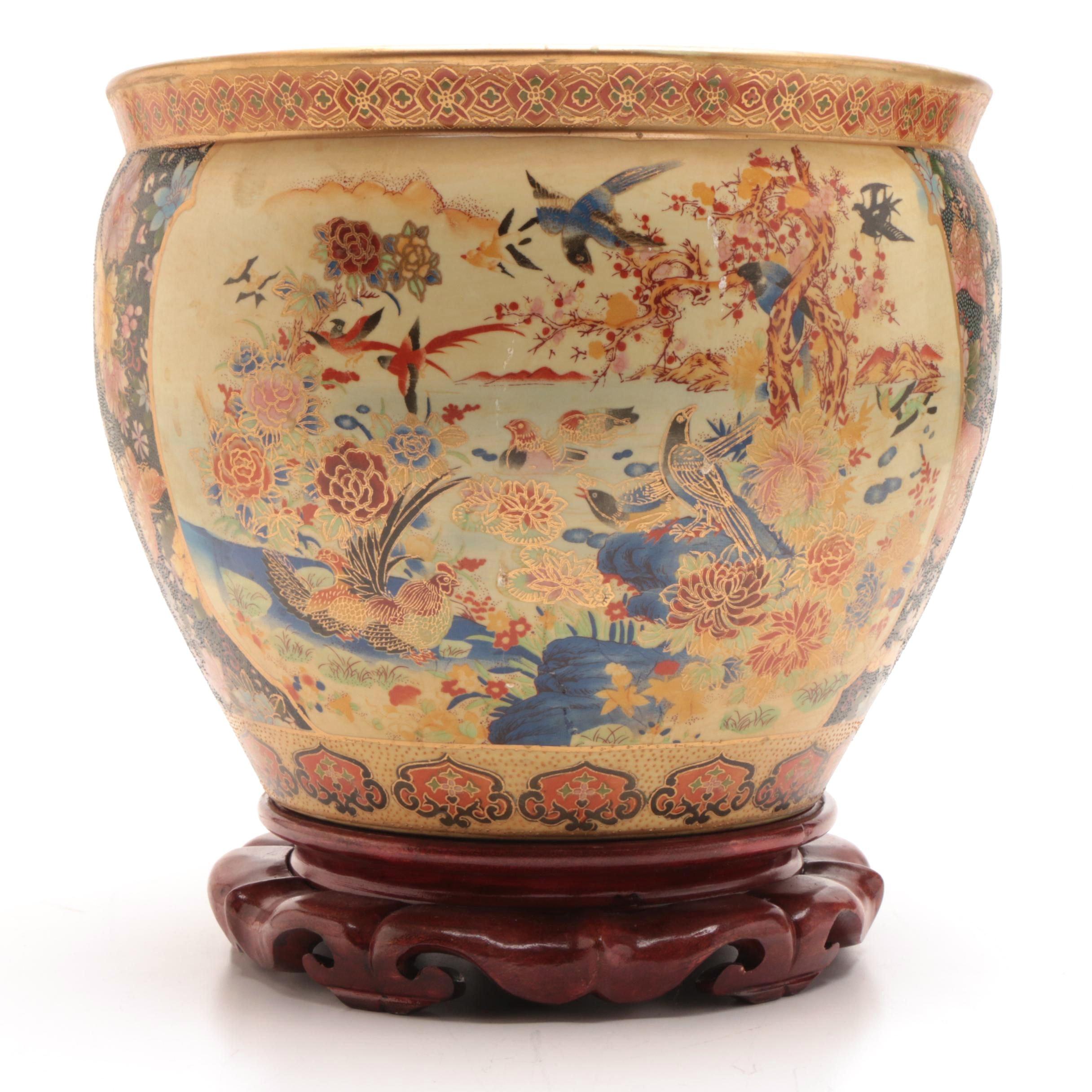 Chinese Satsuma Style Ceramic Fishbowl Jardiniere