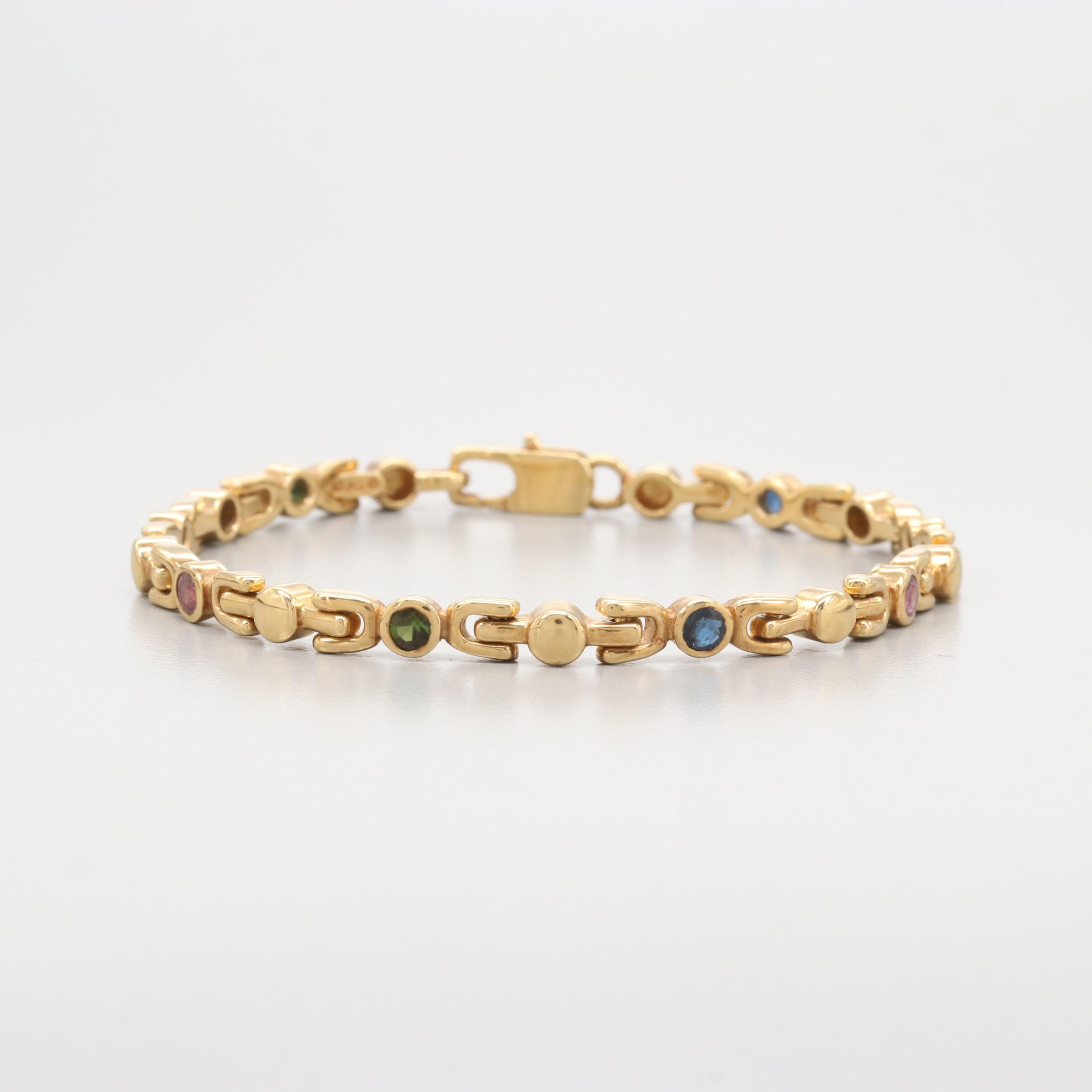 18K Yellow Gold Sapphire, Ruby and Tourmaline Link Bracelet