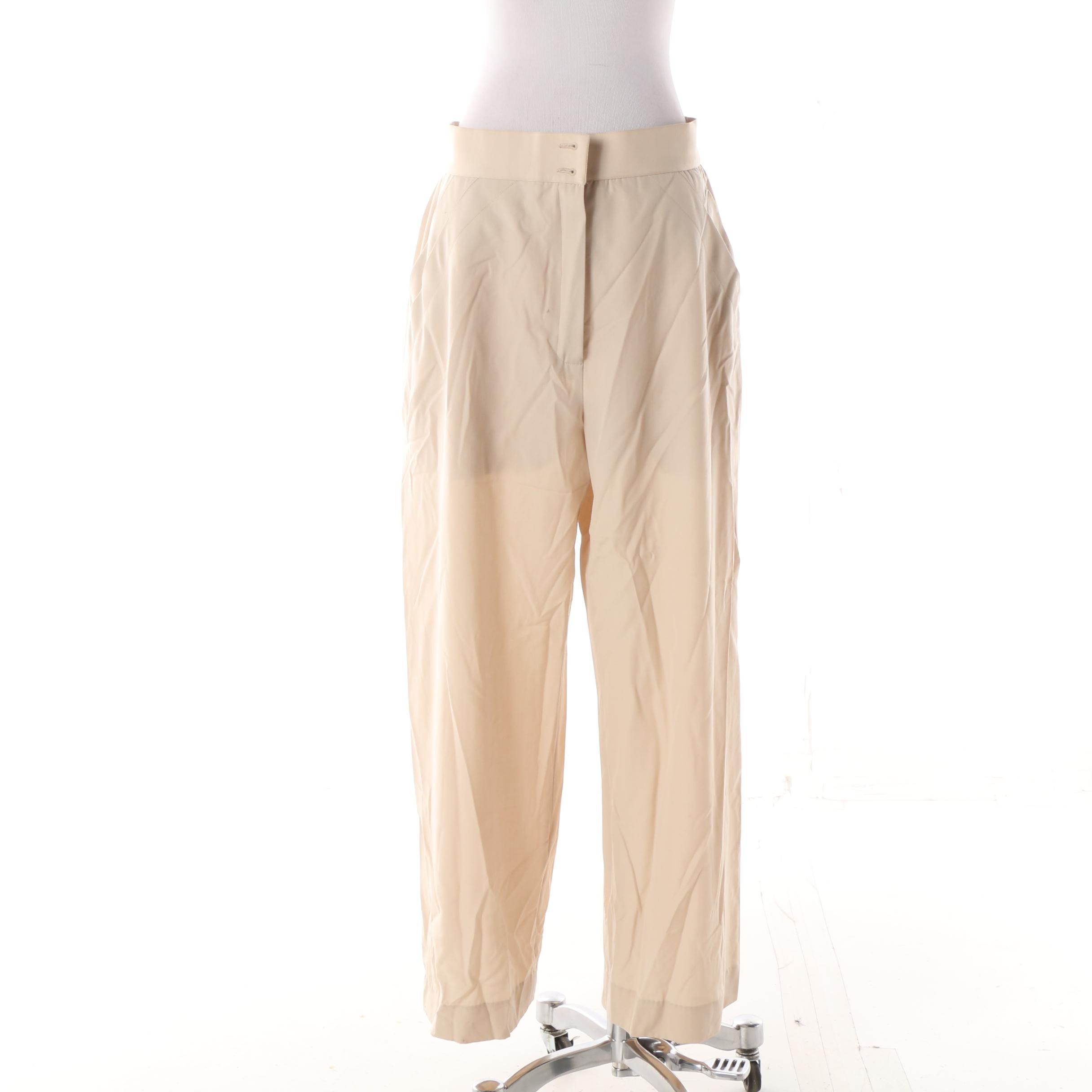 Women's 1980s Vintage Chanel Beige Wide Leg Trousers