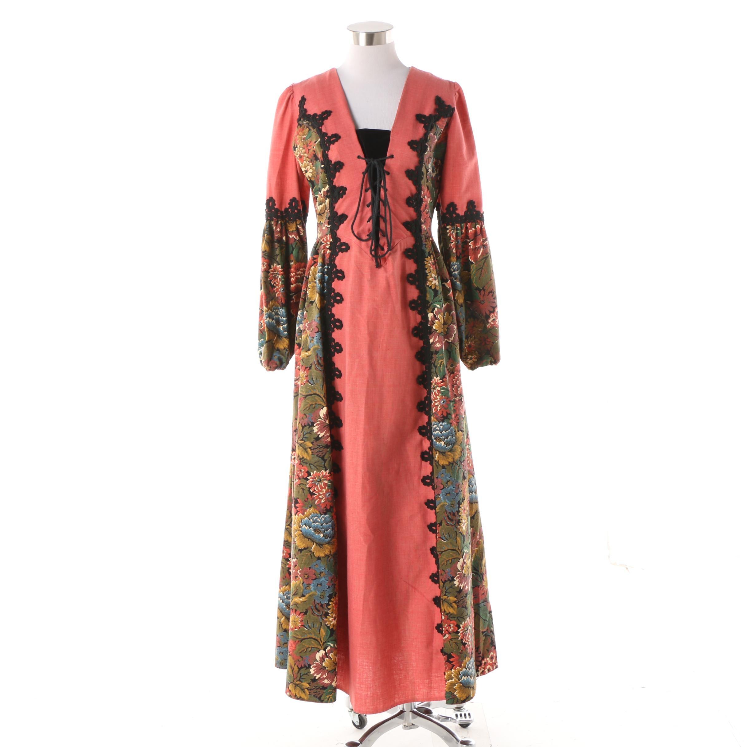 Circa 1960s Gunne Sax of California Renaissance Inspired Tapestry Dress