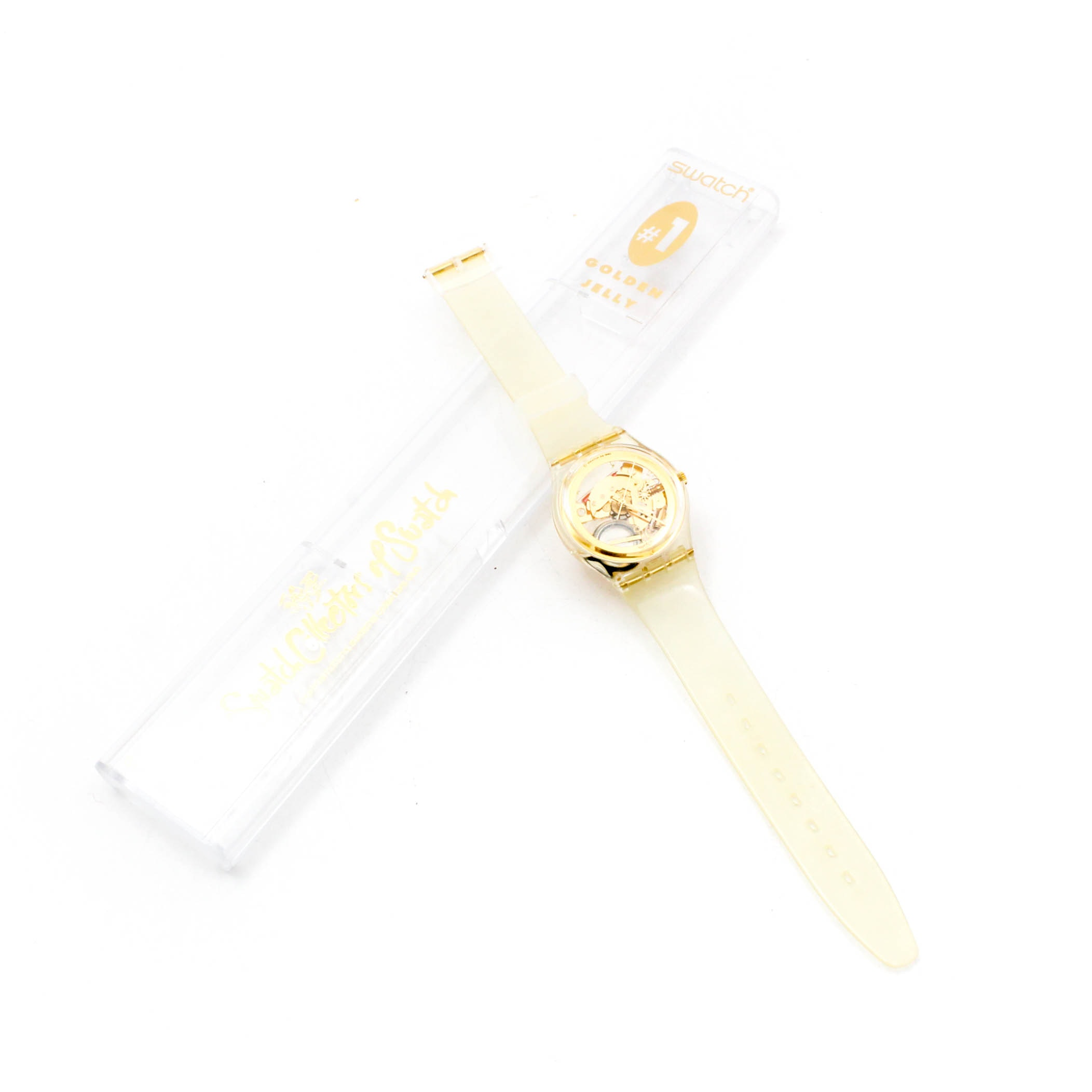 Swatch 1990 Collector's Club #1 Golden Jelly Wristwatch in Case