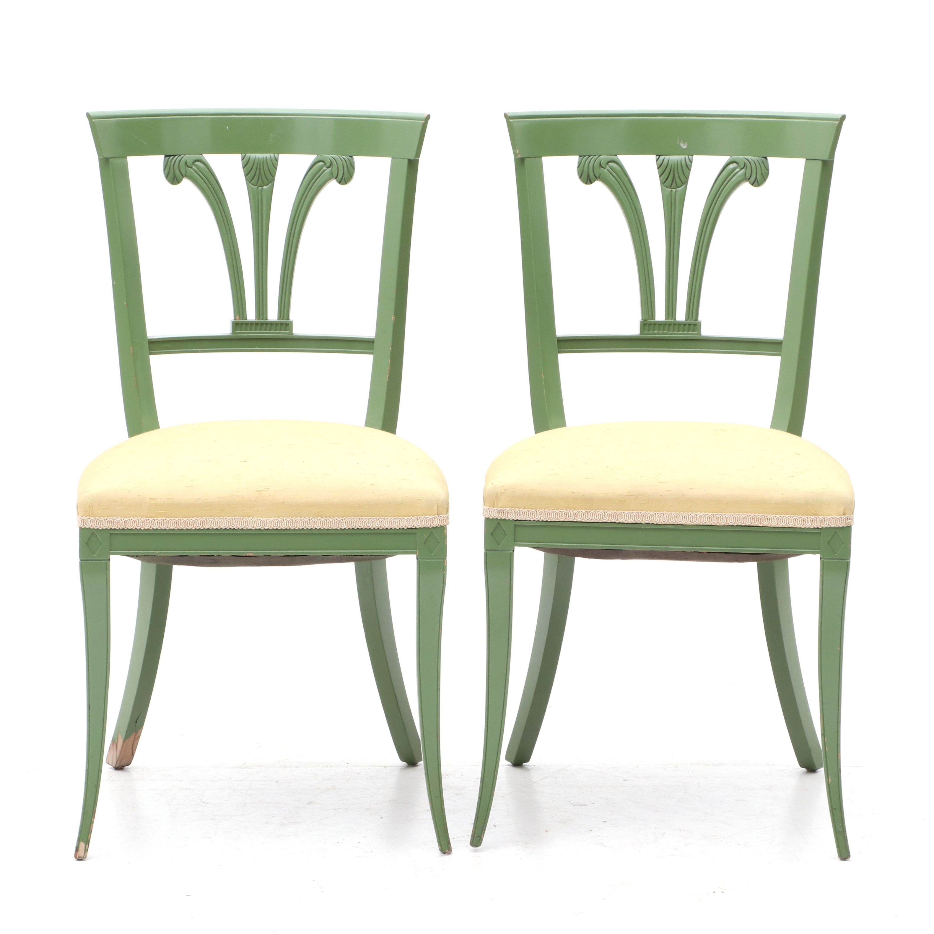 Biedermeier Style Painted Wood Side Chairs, Mid-20th Century