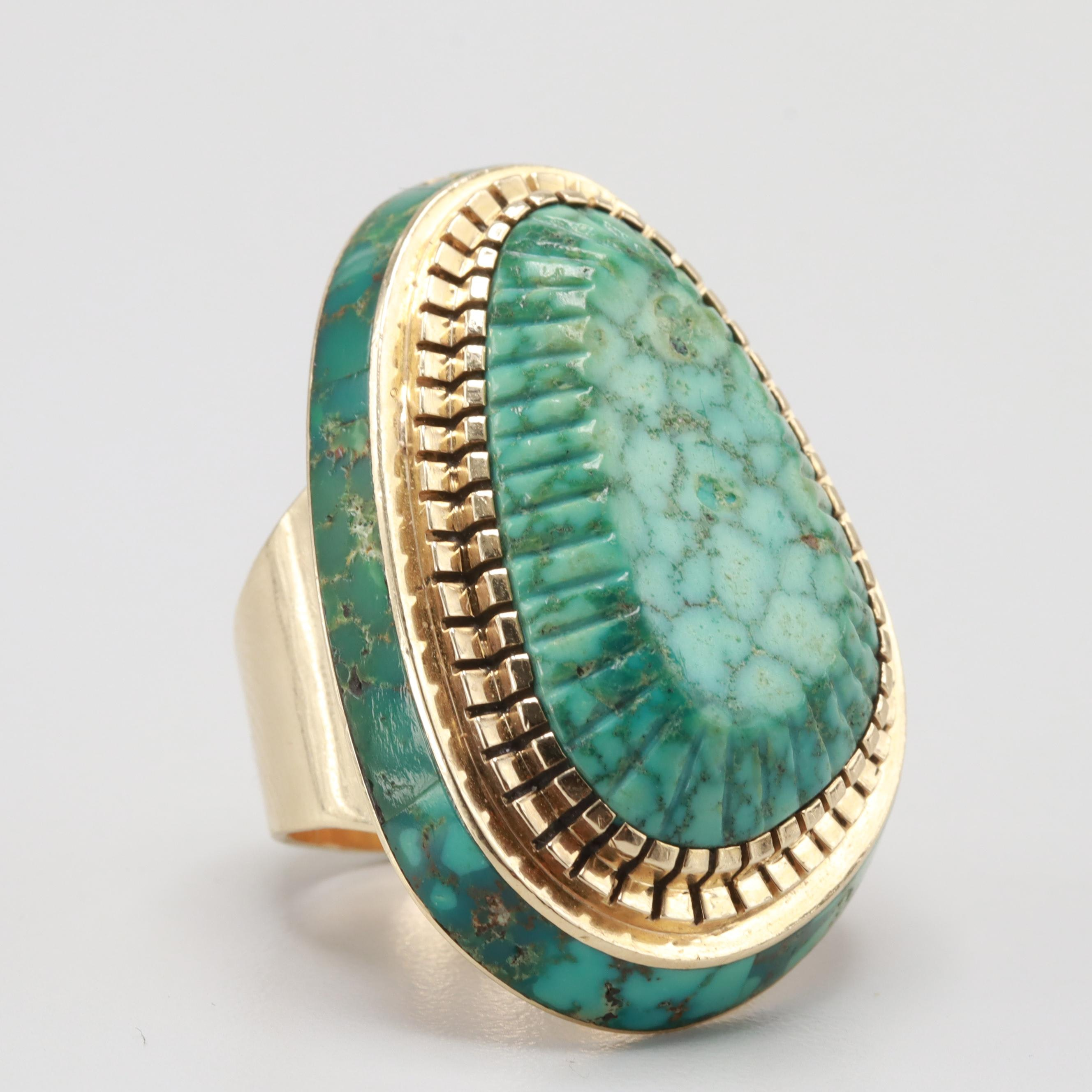 Don Johnson Navajo Diné 14K Yellow Gold Turquoise Ring