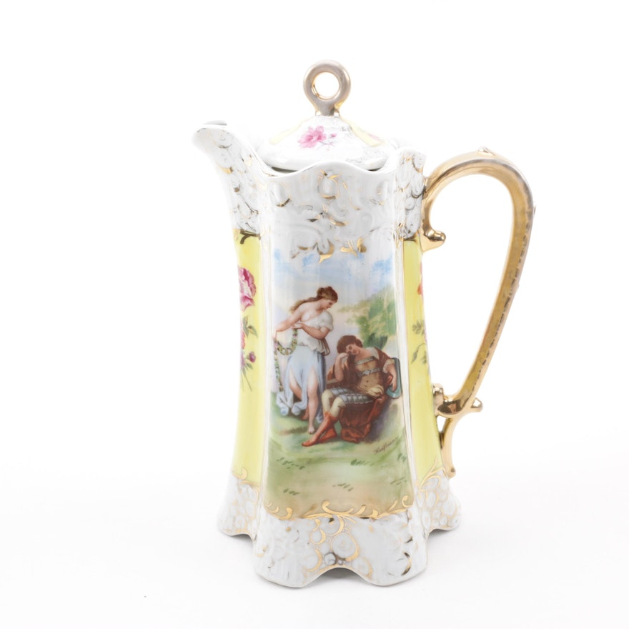 Reproduction Austrian Porcelain Chocolate Pot, Late 20th Century