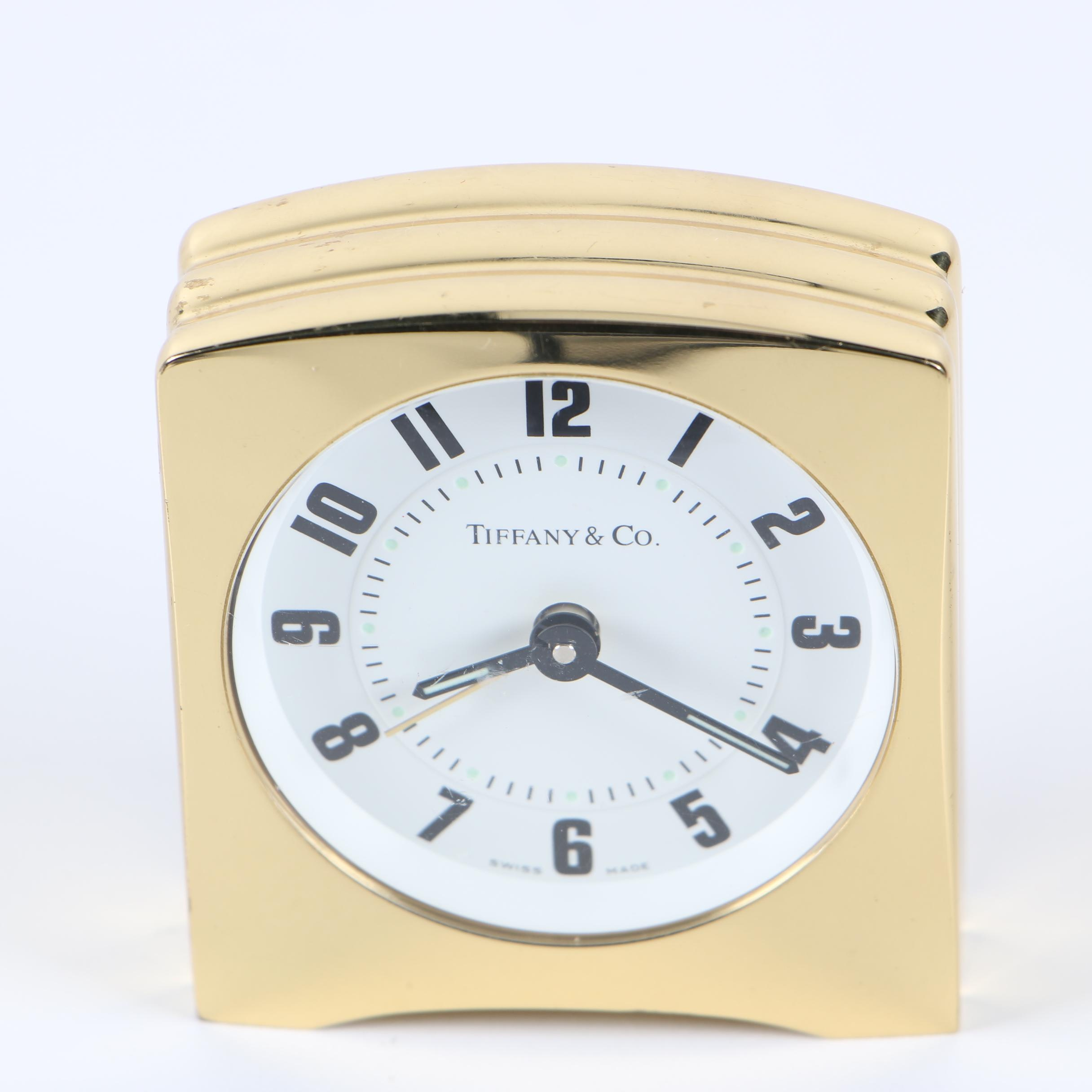 Tiffany & Co. Swiss Made Gold Tone Alarm Clock