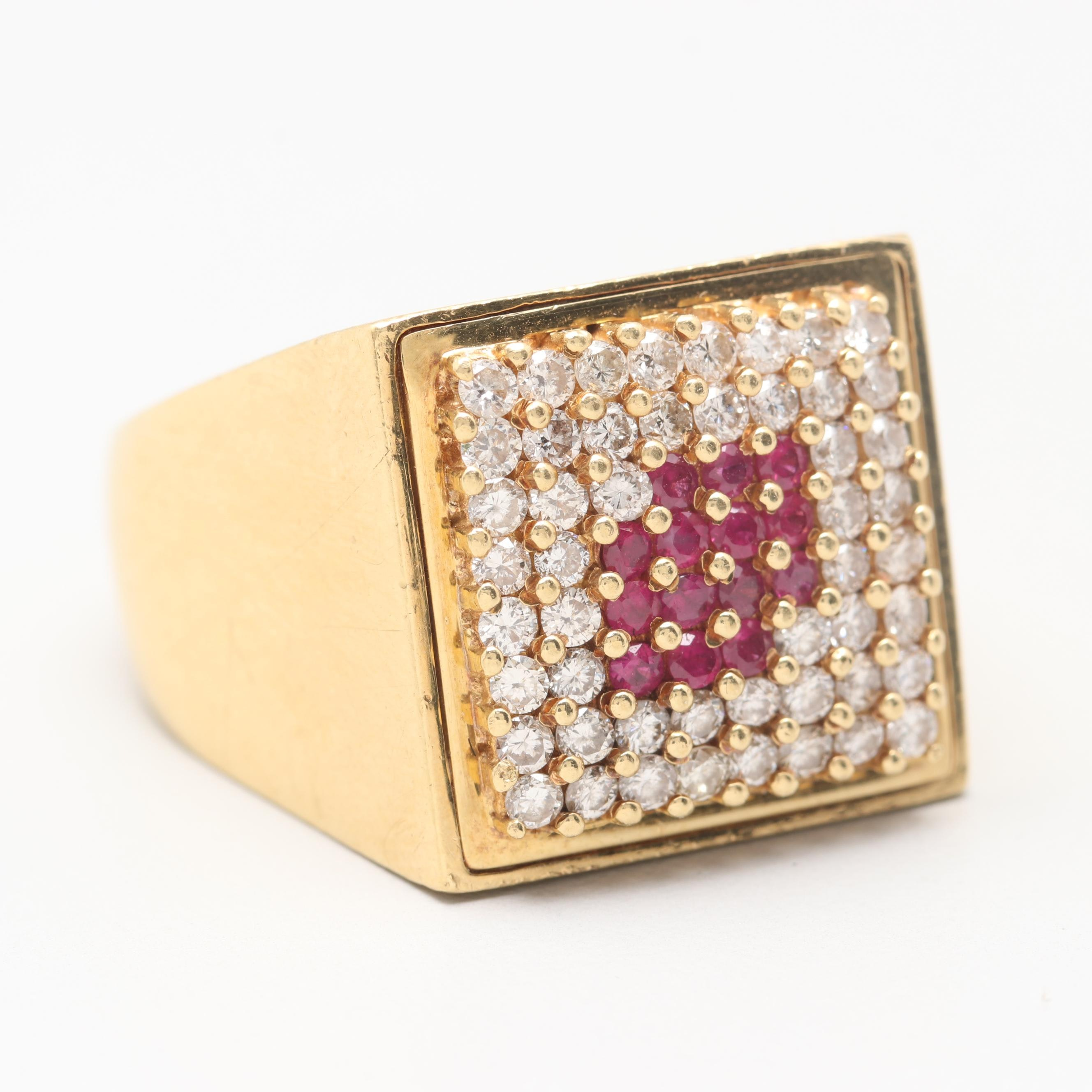 10K Yellow Gold Ruby and 1.05 CTW Diamond Ring