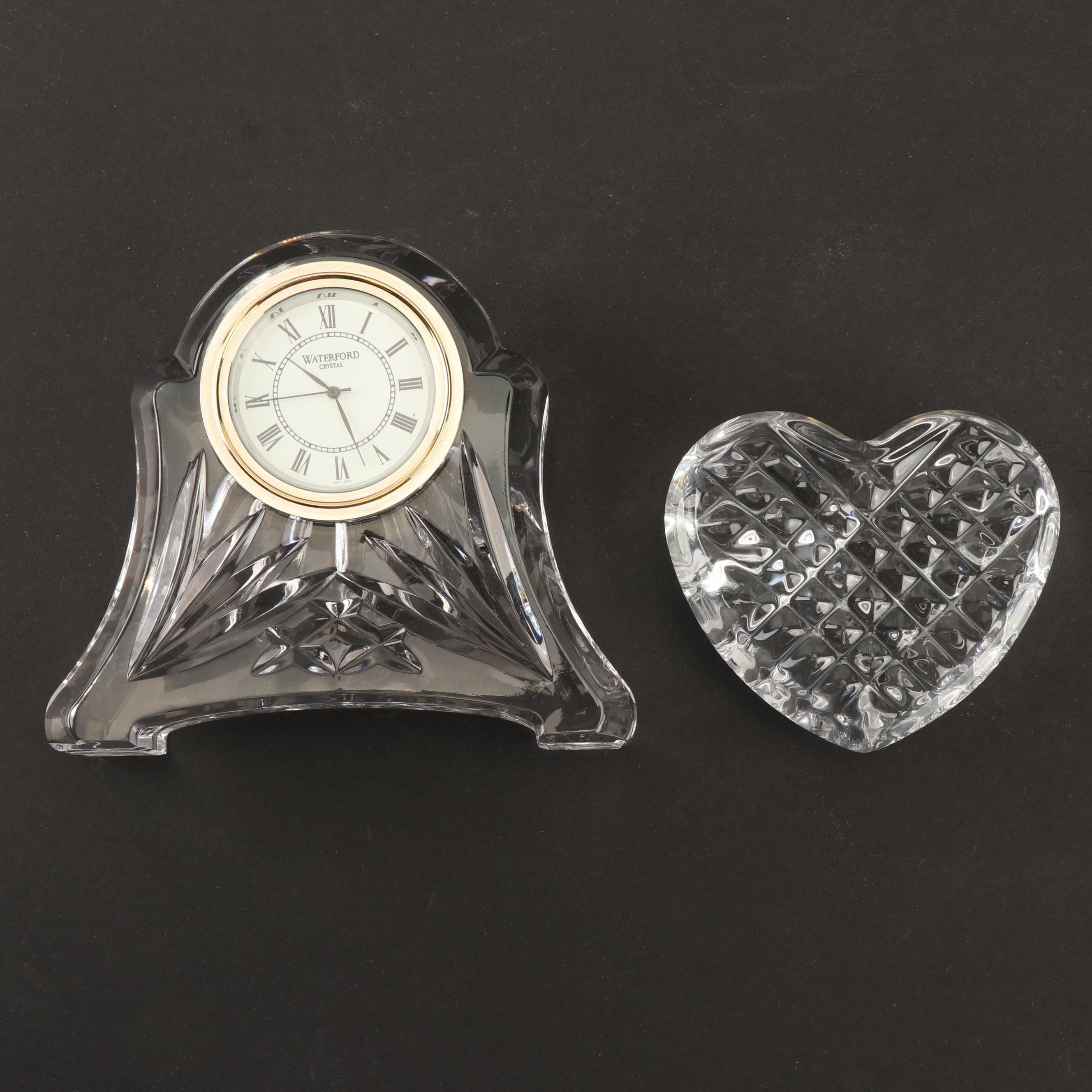 Waterford Crystal Desk Clock with Heart Shaped Paperweight