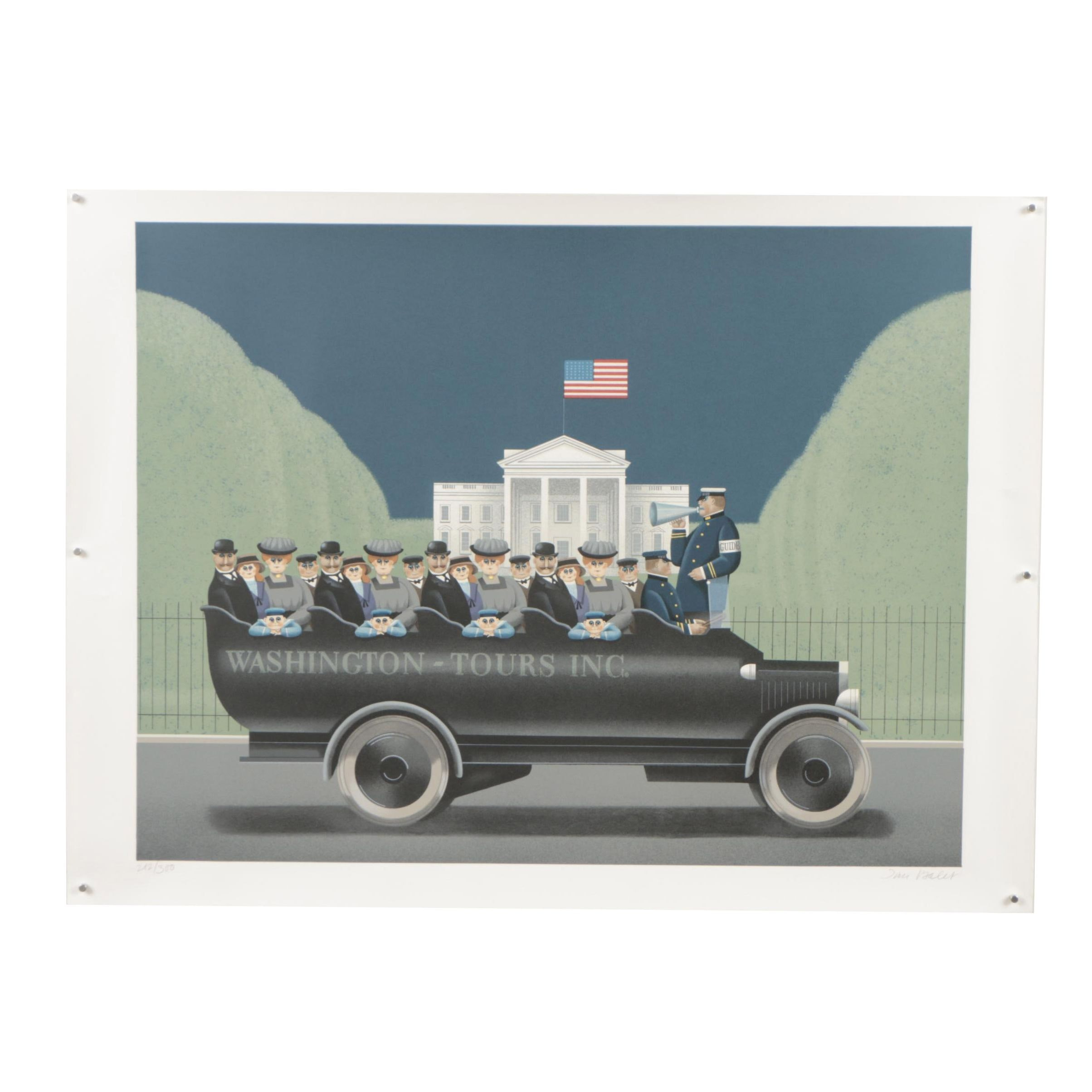 """Jan Balet Lithograph """"To the Left... The White House"""""""