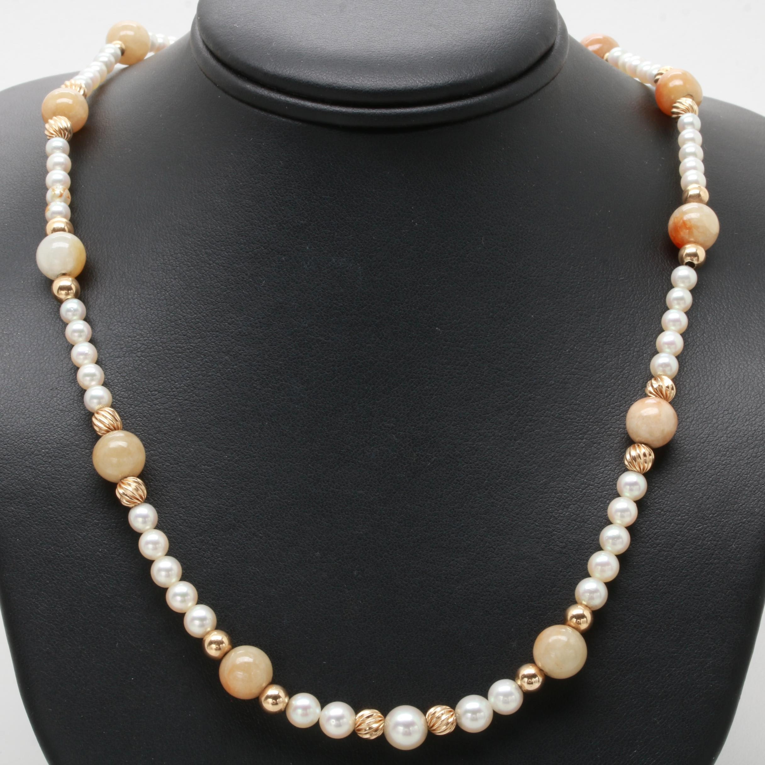 14K Yellow Gold Jadeite and Cultured Pearl Necklace